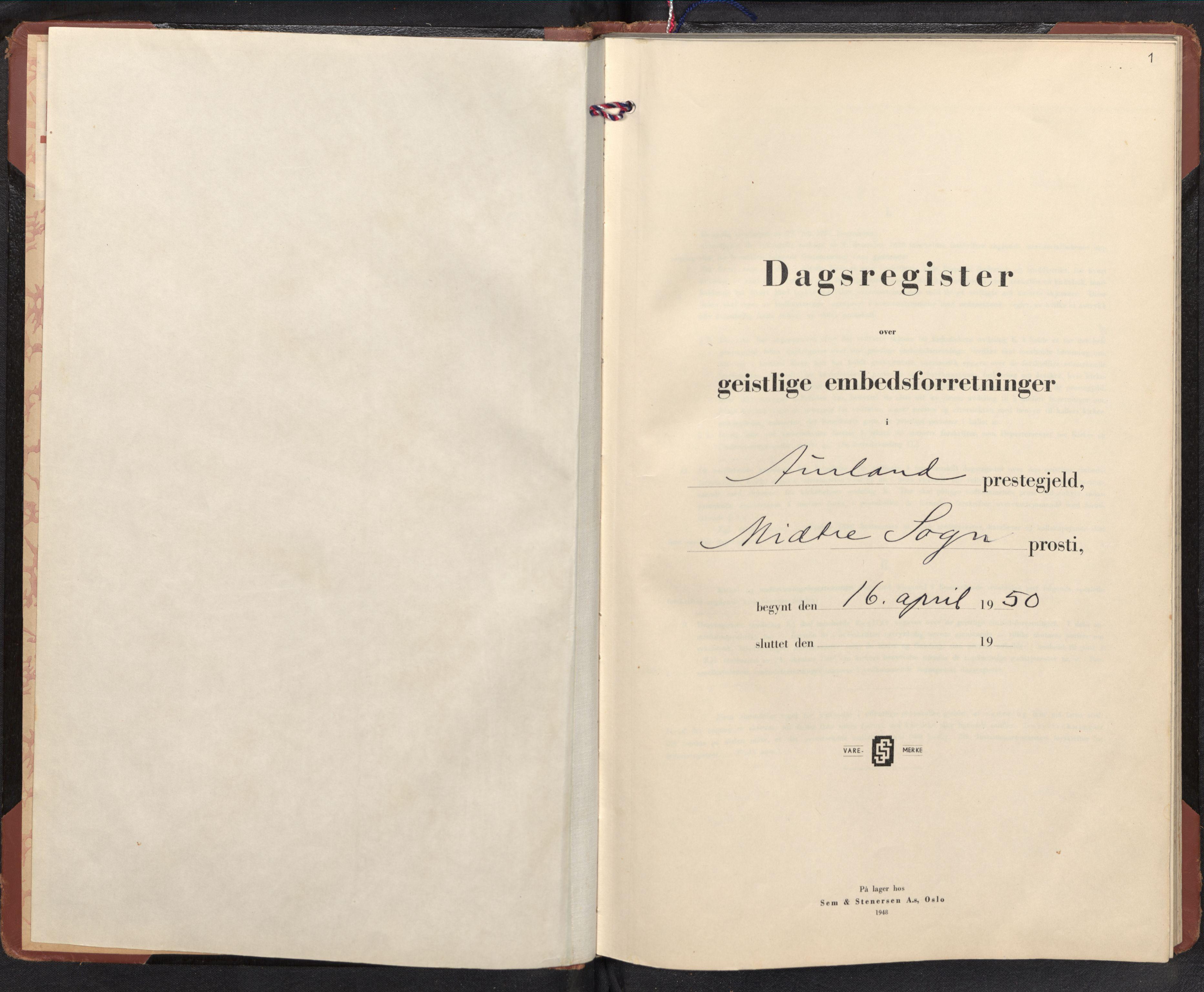 SAB, Aurland Sokneprestembete*, Diary records no. F 4, 1950-1965, p. 0b-1a