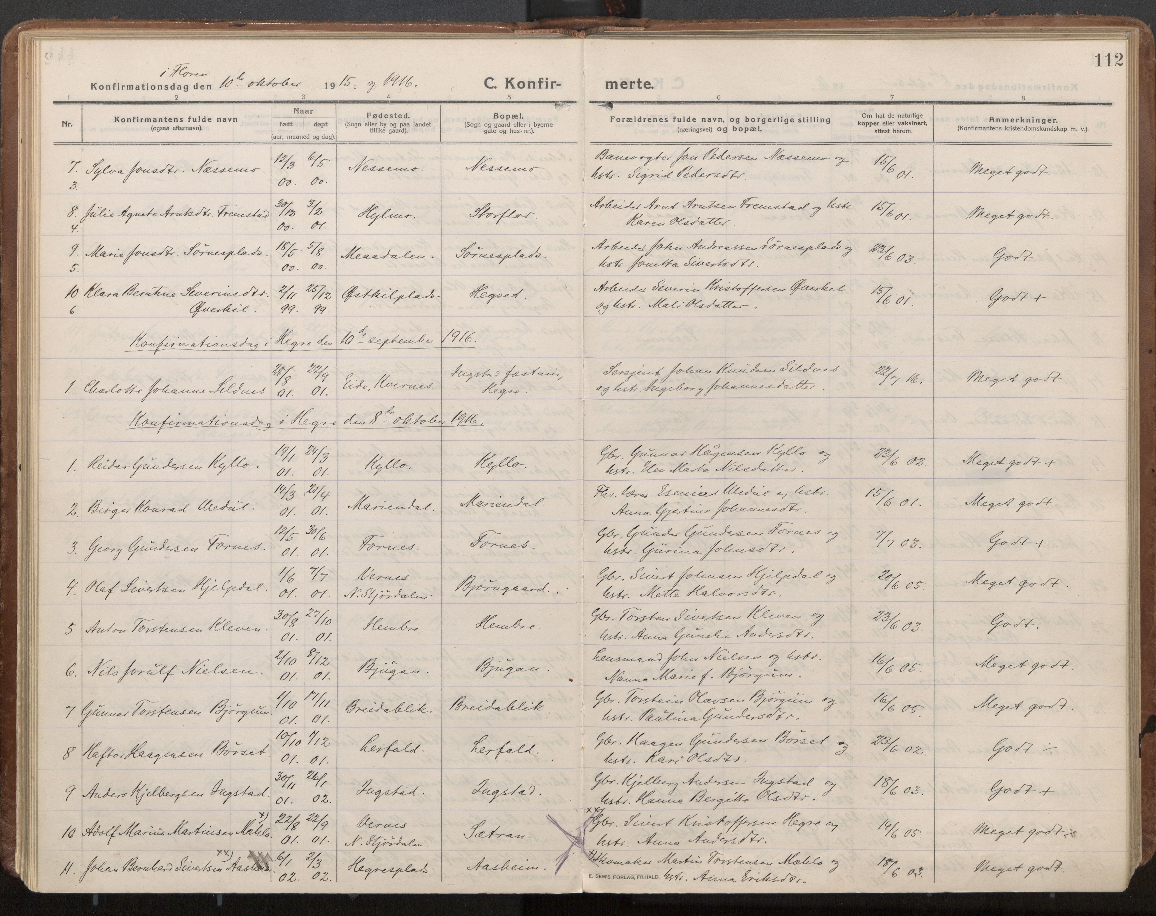 SAT, Ministerialprotokoller, klokkerbøker og fødselsregistre - Nord-Trøndelag, 703/L0037: Parish register (official) no. 703A10, 1915-1932, p. 112