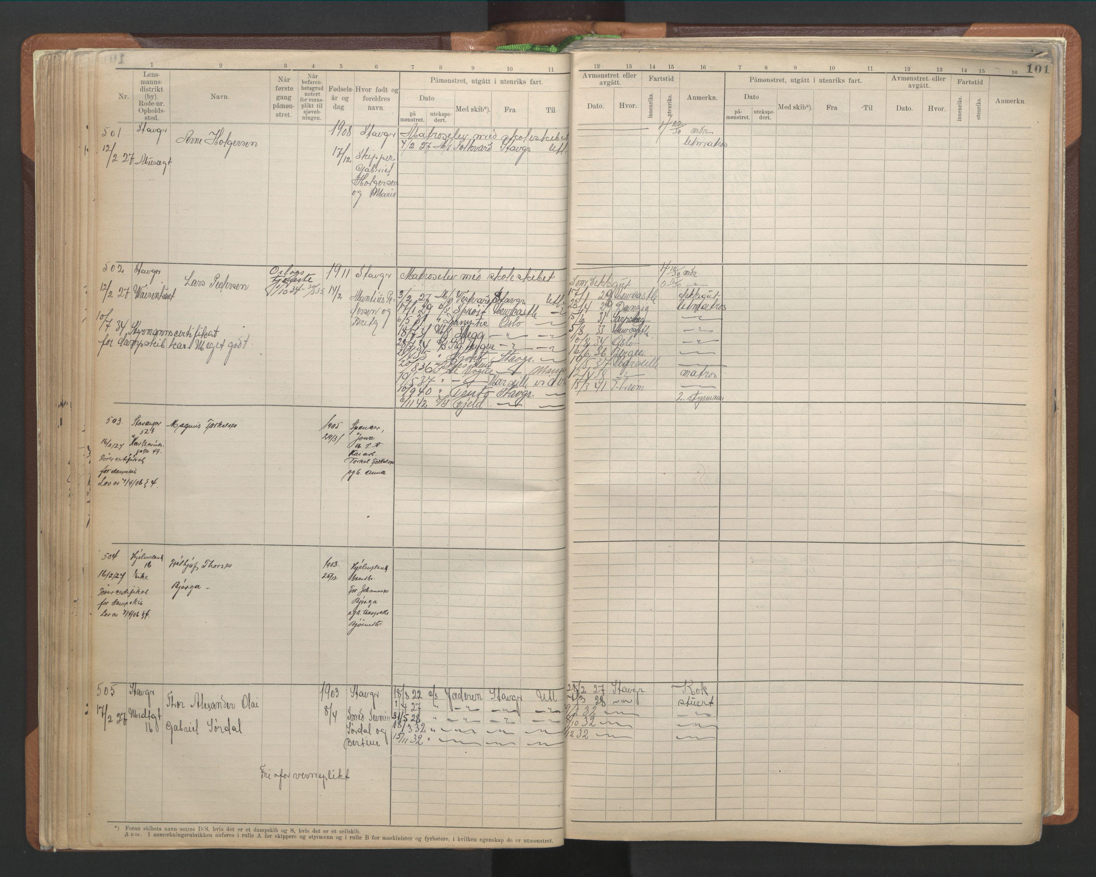 SAST, Stavanger sjømannskontor*, 1921-1933, p. 107