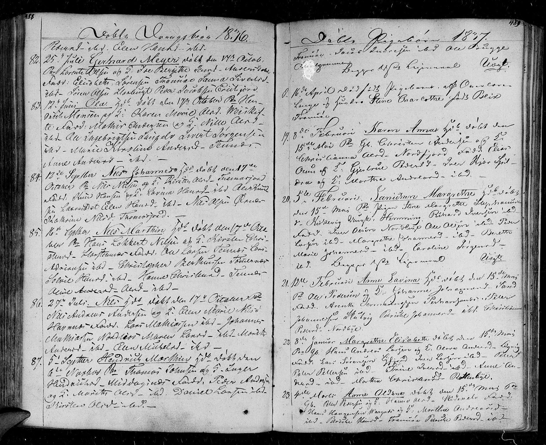 SATØ, Tromsø sokneprestkontor/stiftsprosti/domprosti, G/Ga/L0008kirke: Parish register (official) no. 8, 1829-1837, p. 488-489