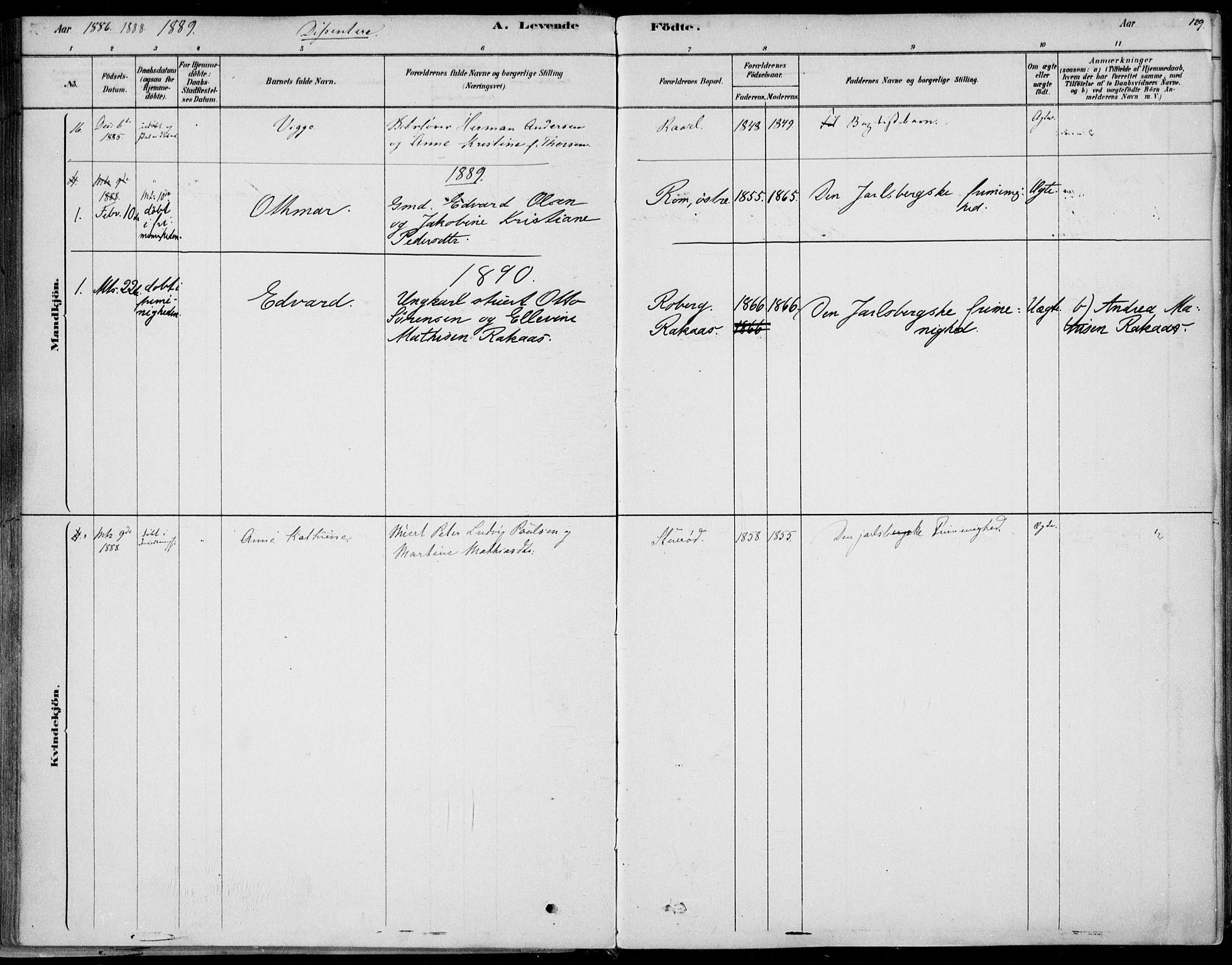 SAKO, Sem kirkebøker, F/Fb/L0004: Parish register (official) no. II 4, 1878-1891, p. 129