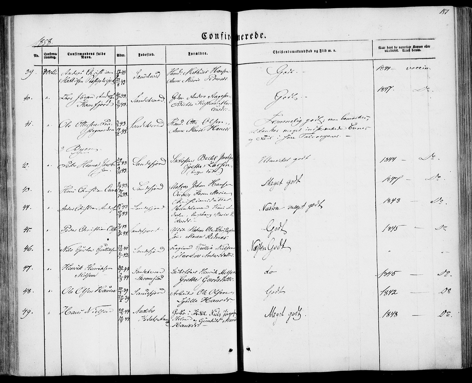 SAKO, Sandar kirkebøker, F/Fa/L0007: Parish register (official) no. 7, 1855-1861, p. 187