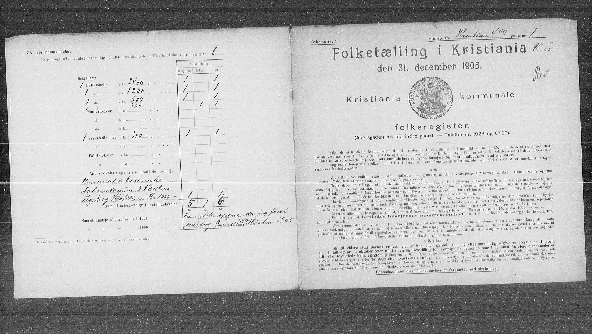 OBA, Municipal Census 1905 for Kristiania, 1905, p. 28567