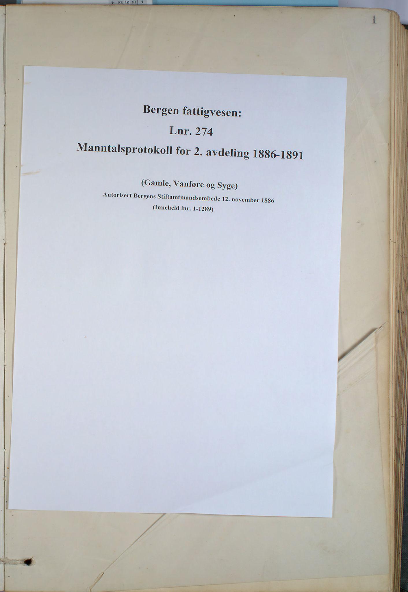 BBA, Bergen fattigvesen, 1886-1891, p. 1