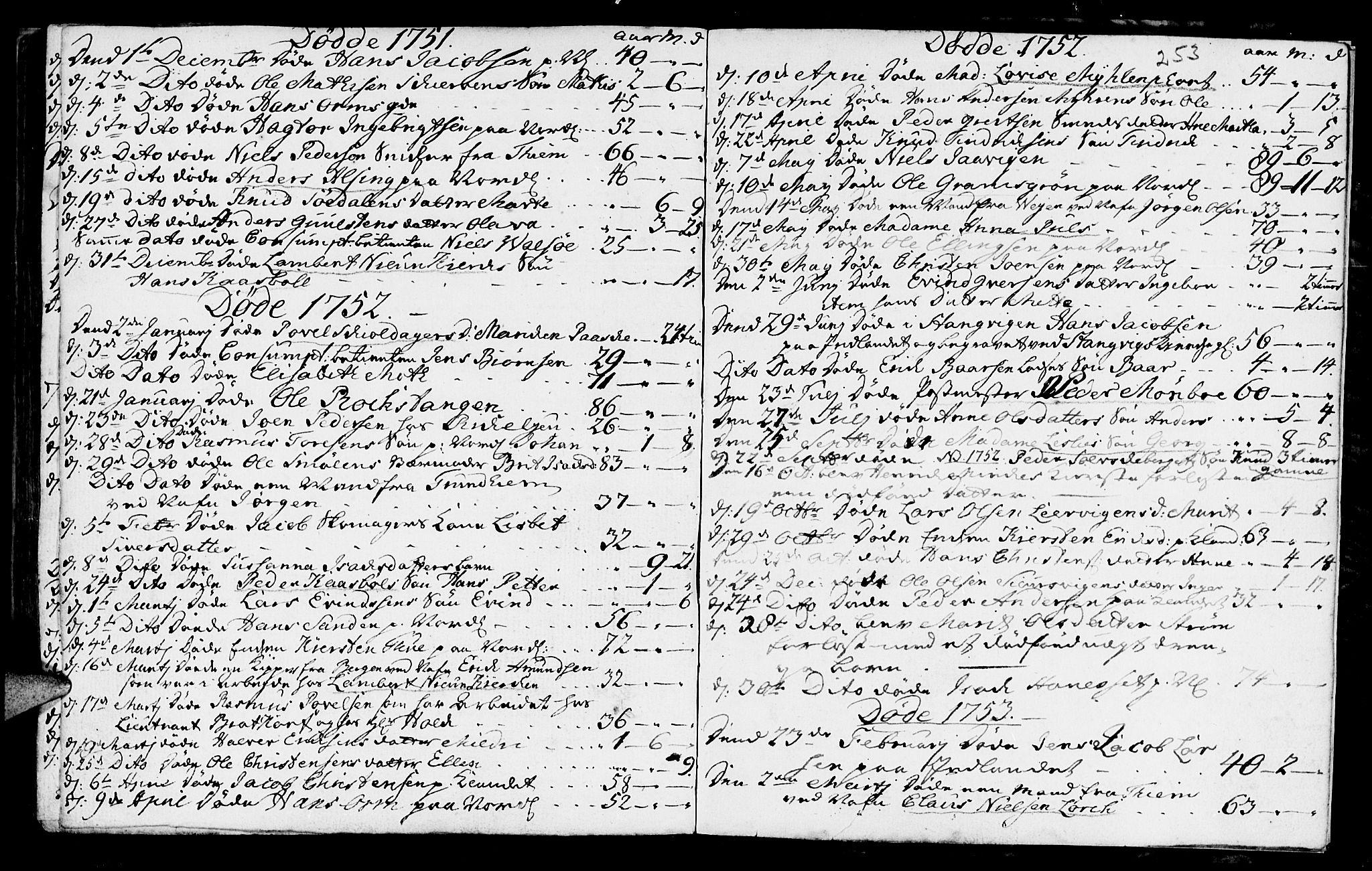 SAT, Ministerialprotokoller, klokkerbøker og fødselsregistre - Møre og Romsdal, 572/L0839: Parish register (official) no. 572A02, 1739-1754, p. 252-253