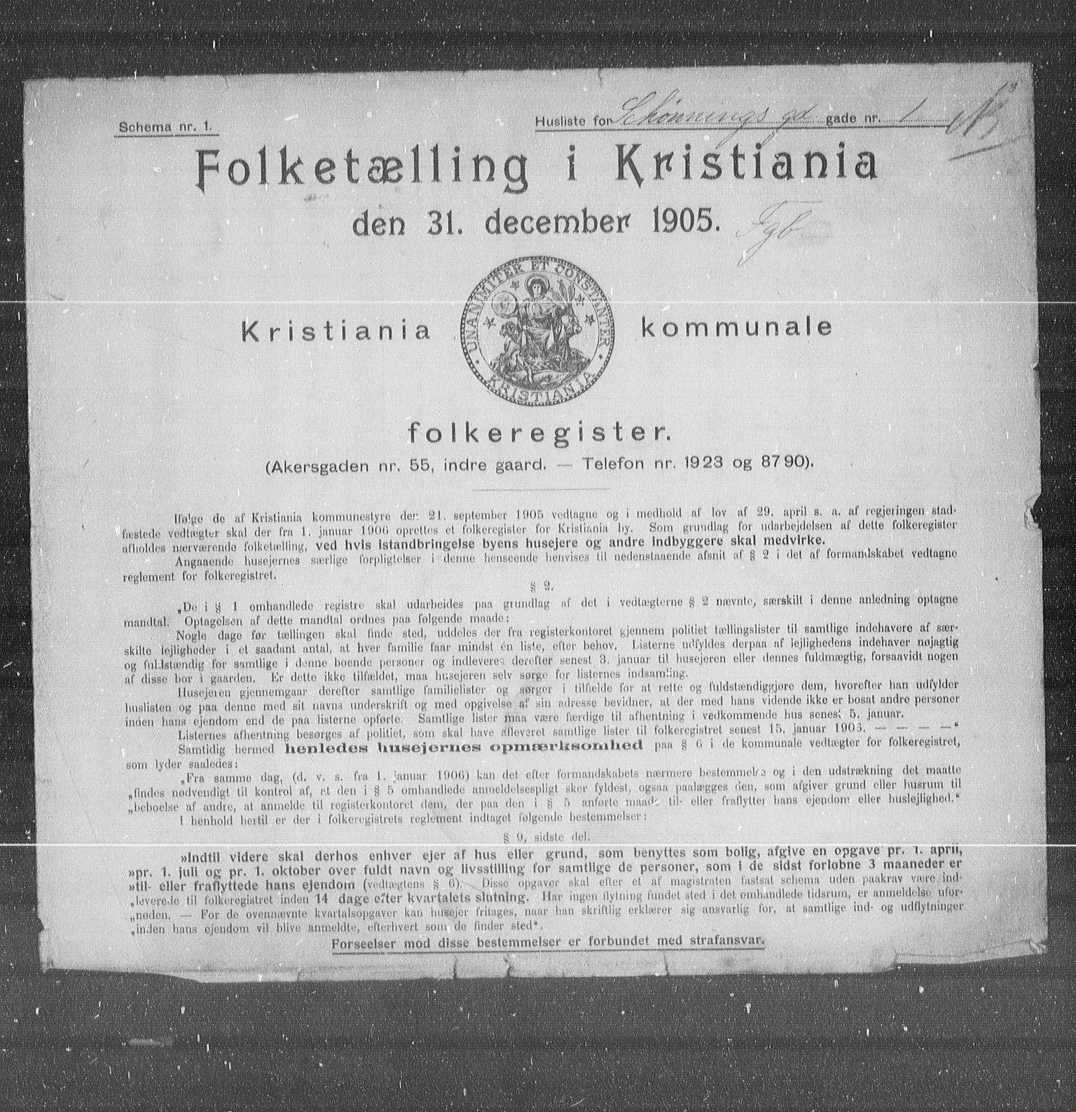 OBA, Municipal Census 1905 for Kristiania, 1905, p. 48486