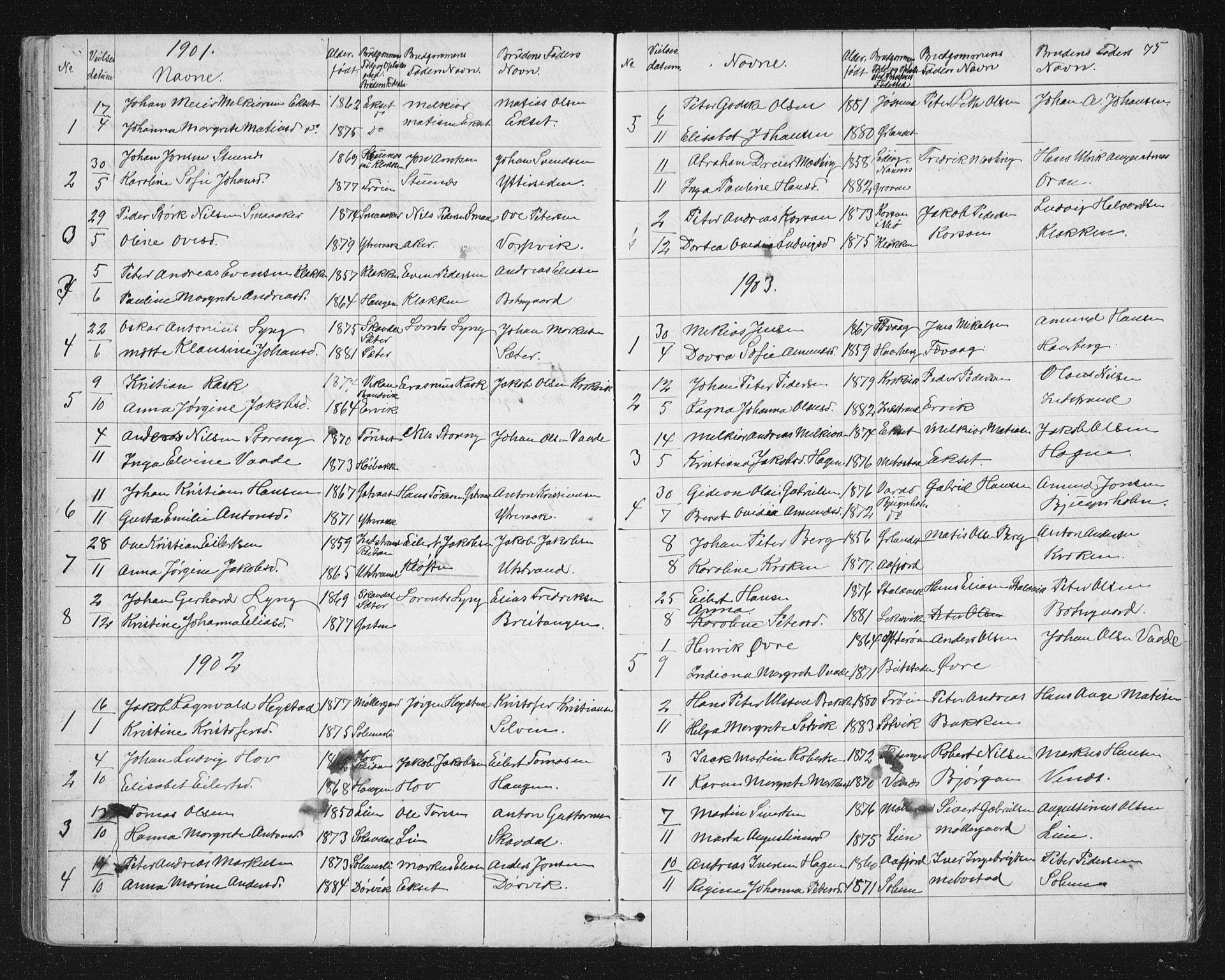 SAT, Ministerialprotokoller, klokkerbøker og fødselsregistre - Sør-Trøndelag, 651/L0647: Parish register (copy) no. 651C01, 1866-1914, p. 75