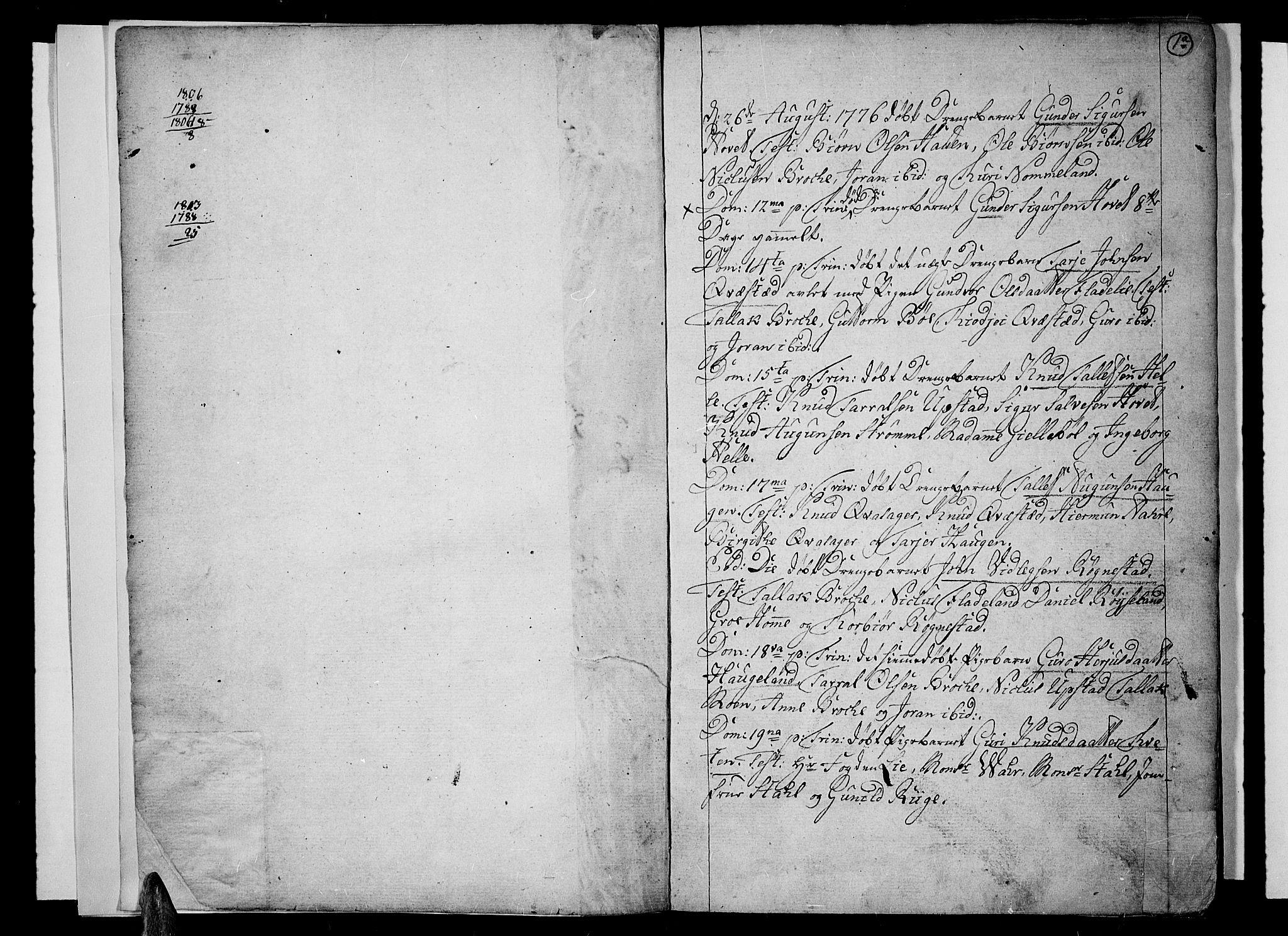 SAK, Valle sokneprestkontor, F/Fa/Fac/L0003: Parish register (official) no. A 3, 1776-1790, p. 1