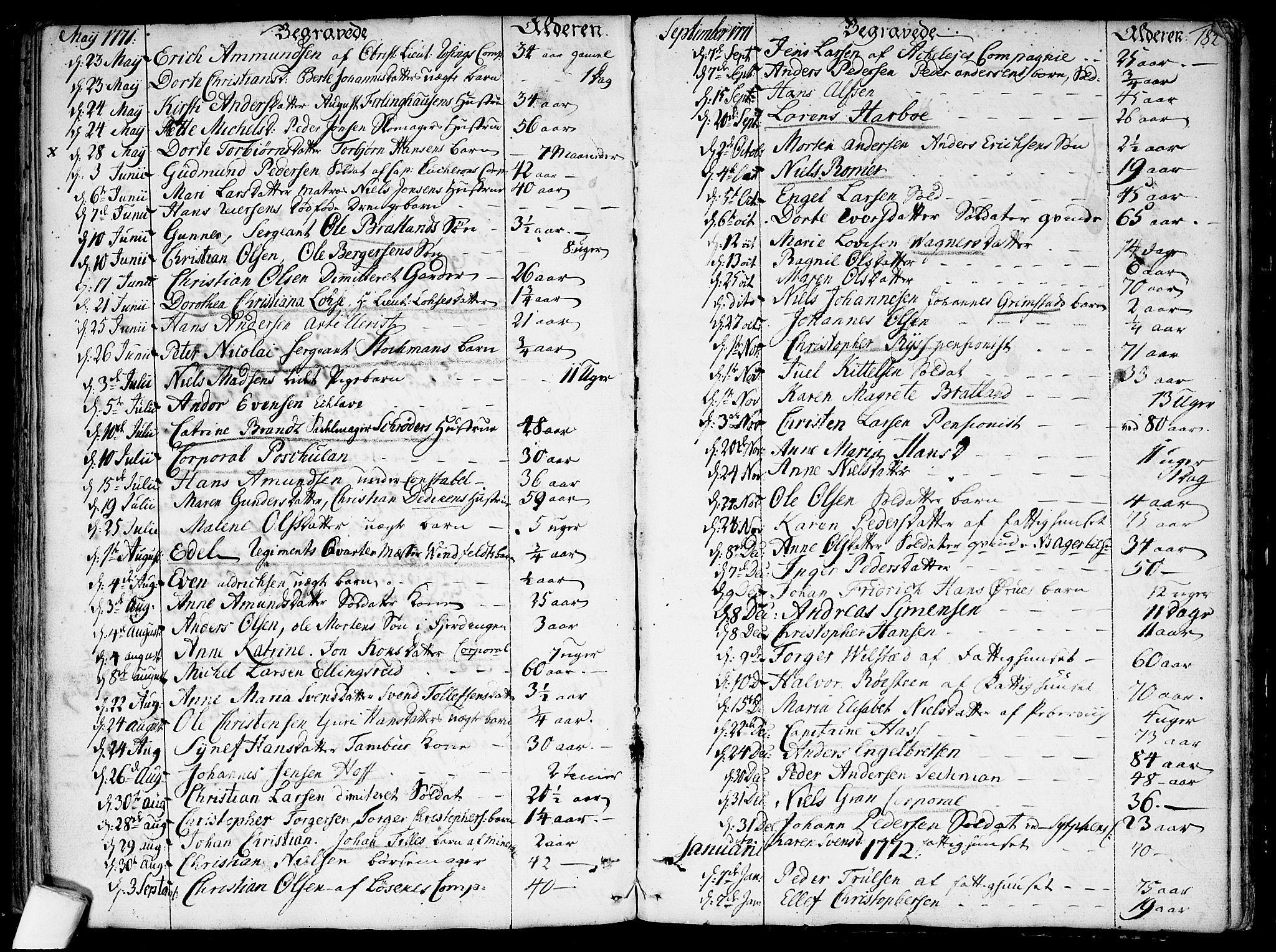 SAO, Garnisonsmenigheten Kirkebøker, F/Fa/L0002: Parish register (official) no. 2, 1757-1776, p. 184