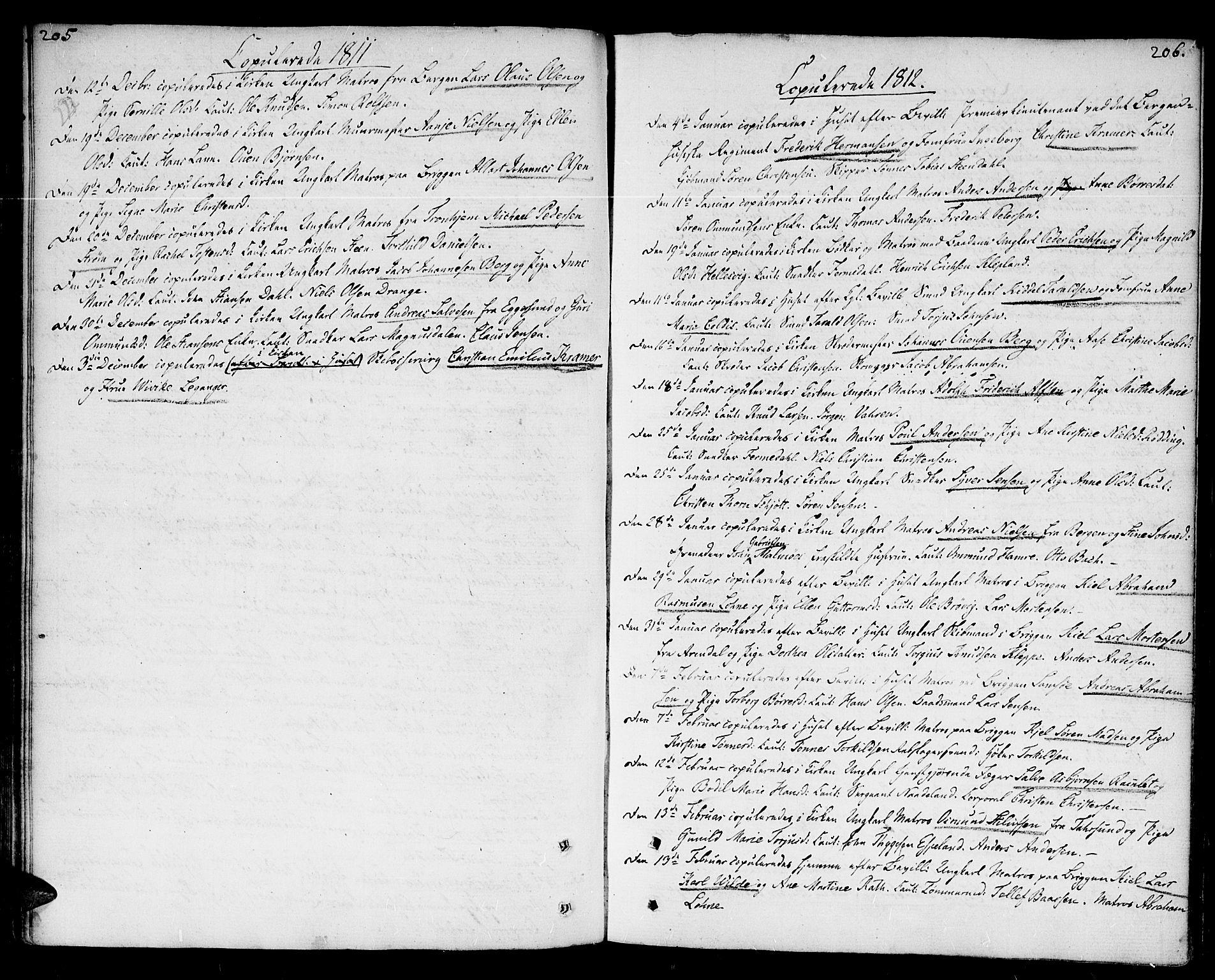 SAK, Kristiansand domprosti, F/Fa/L0005: Parish register (official) no. A 5, 1776-1818, p. 205-206