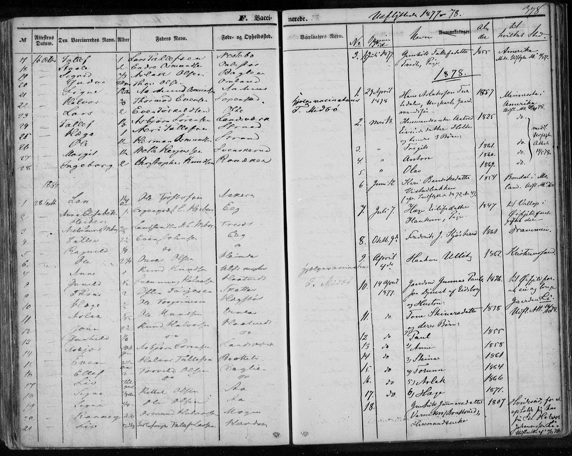 SAKO, Lårdal kirkebøker, F/Fa/L0006: Parish register (official) no. I 6, 1861-1886, p. 378
