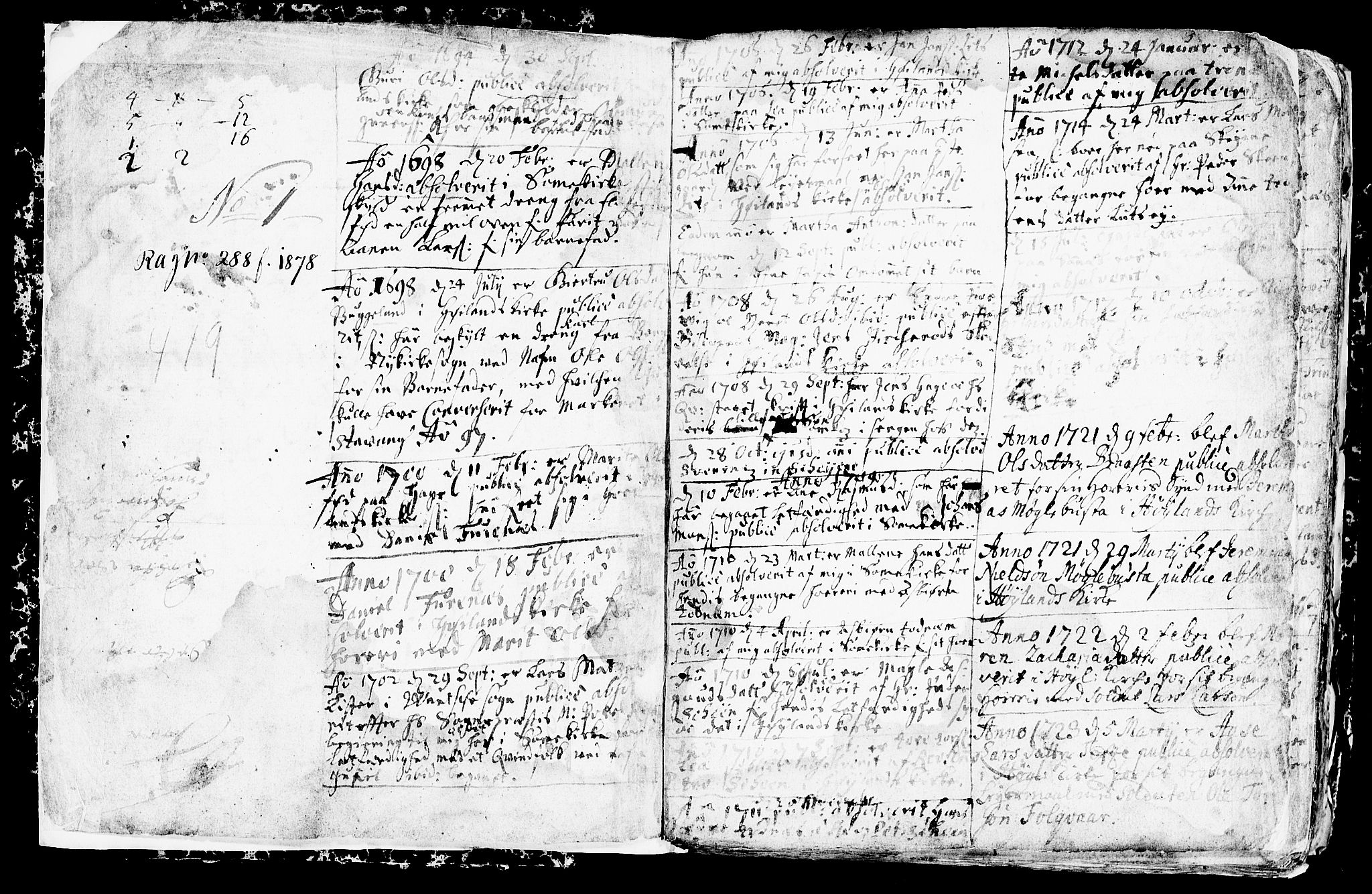SAST, Høyland sokneprestkontor, 30BA/L0001: Parish register (official) no. A 1, 1691-1732