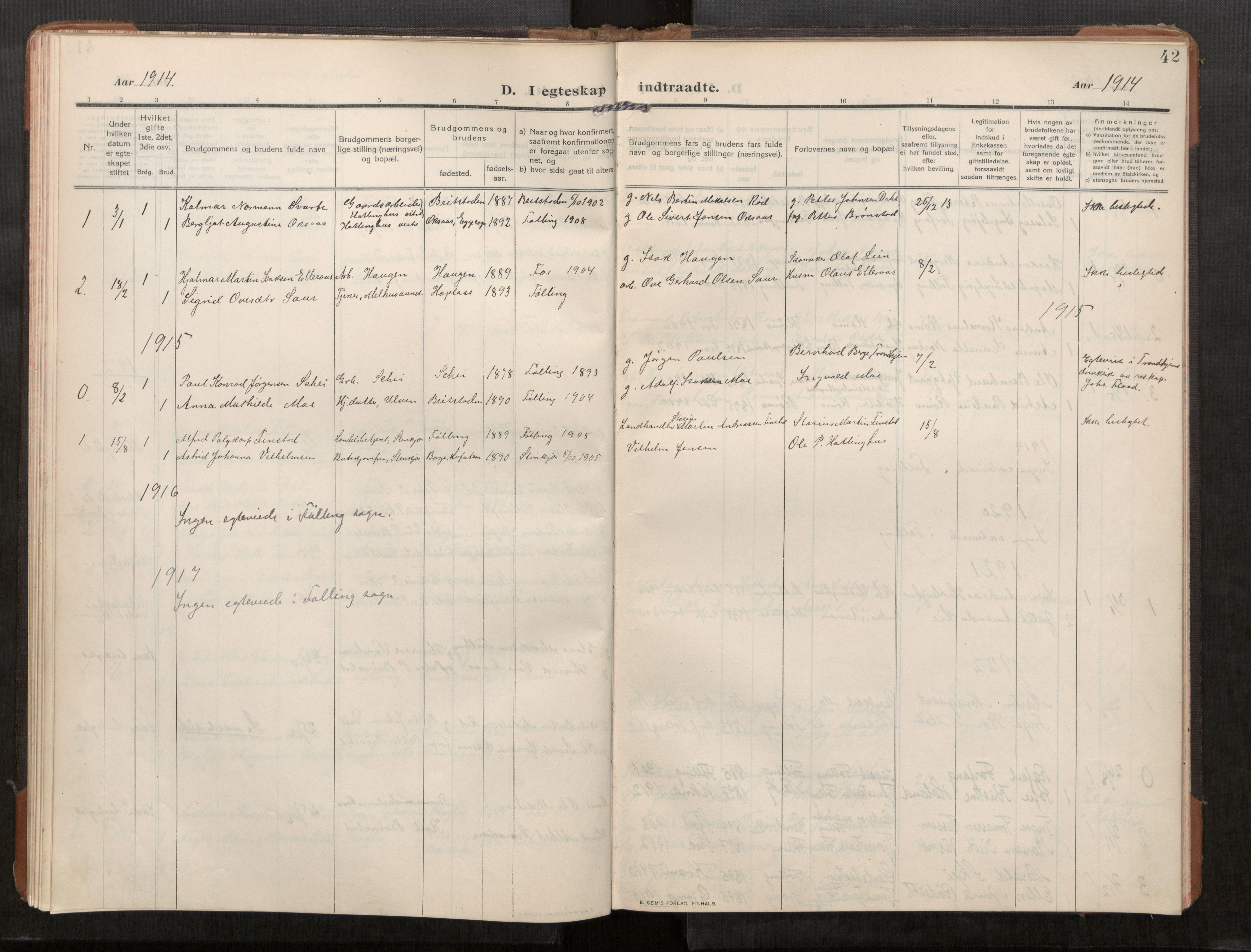SAT, Stod sokneprestkontor, I/I1/I1a/L0003: Parish register (official) no. 3, 1909-1934, p. 42