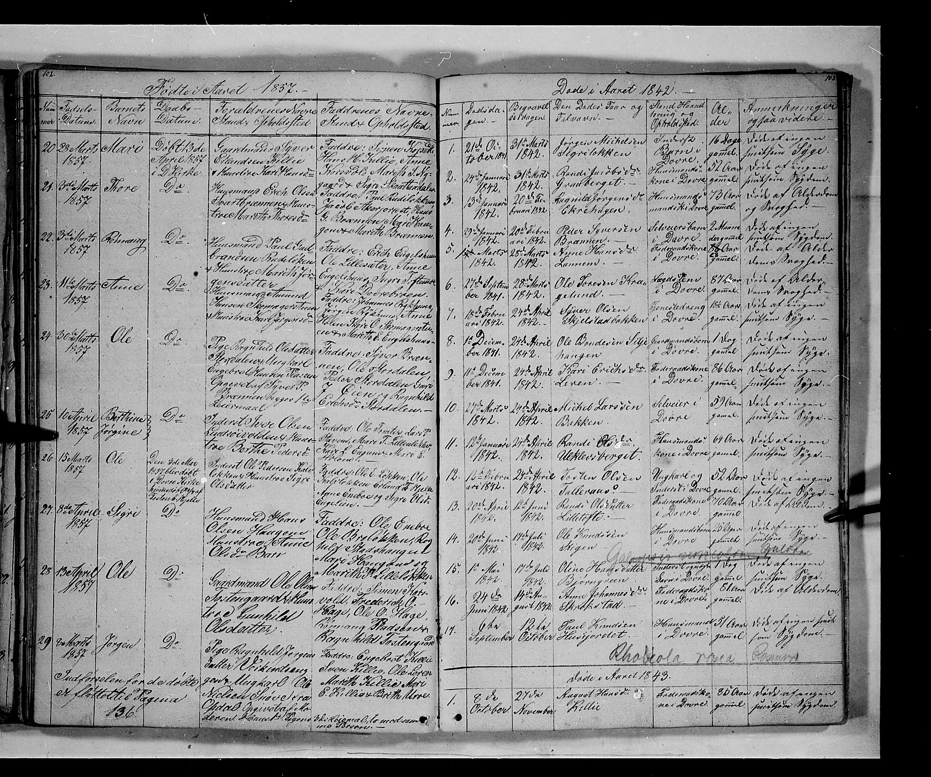 SAH, Lesja prestekontor, Parish register (copy) no. 3, 1842-1862, p. 102-103