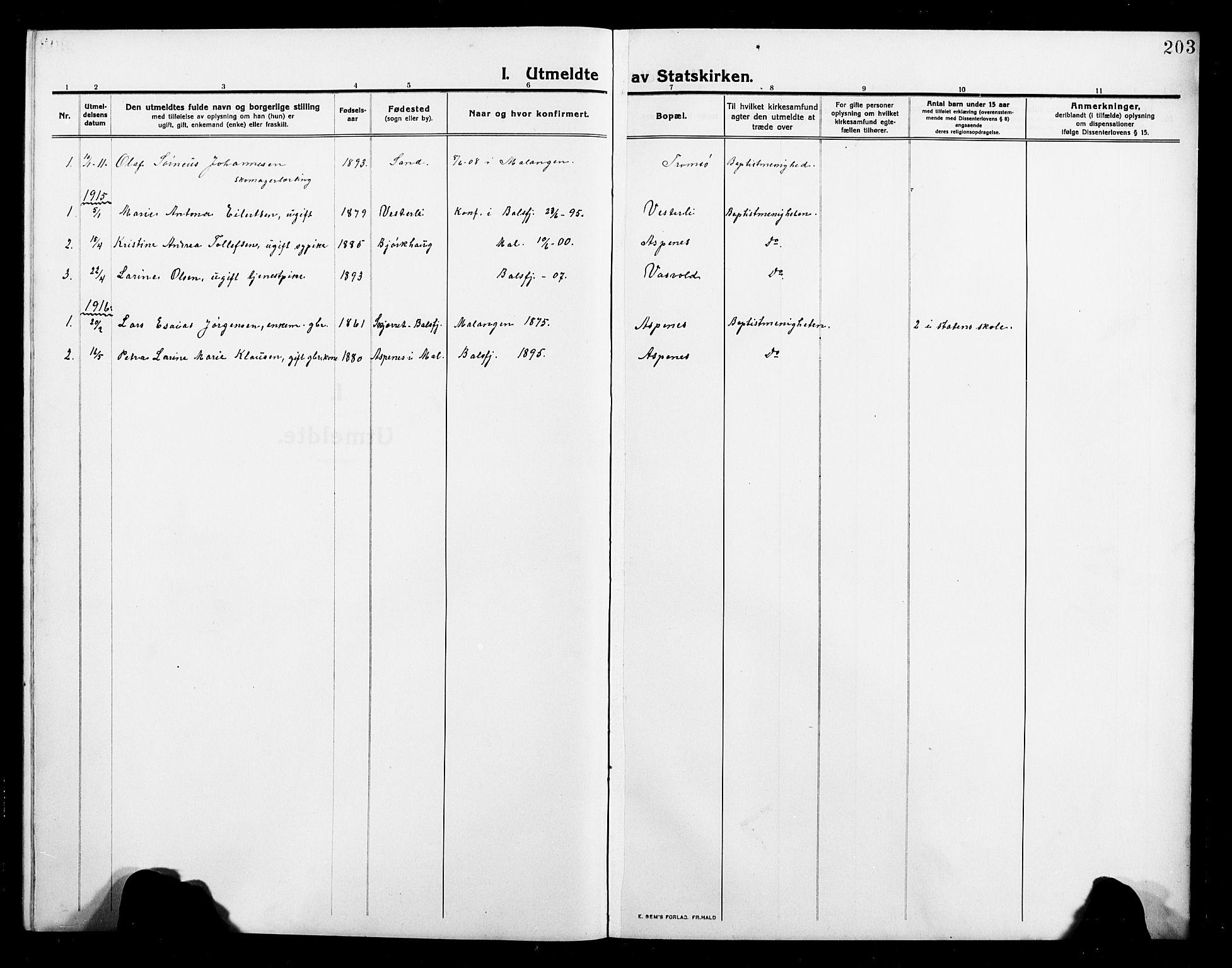 SATØ, Balsfjord sokneprestembete, Parish register (copy) no. 4, 1910-1926, p. 203