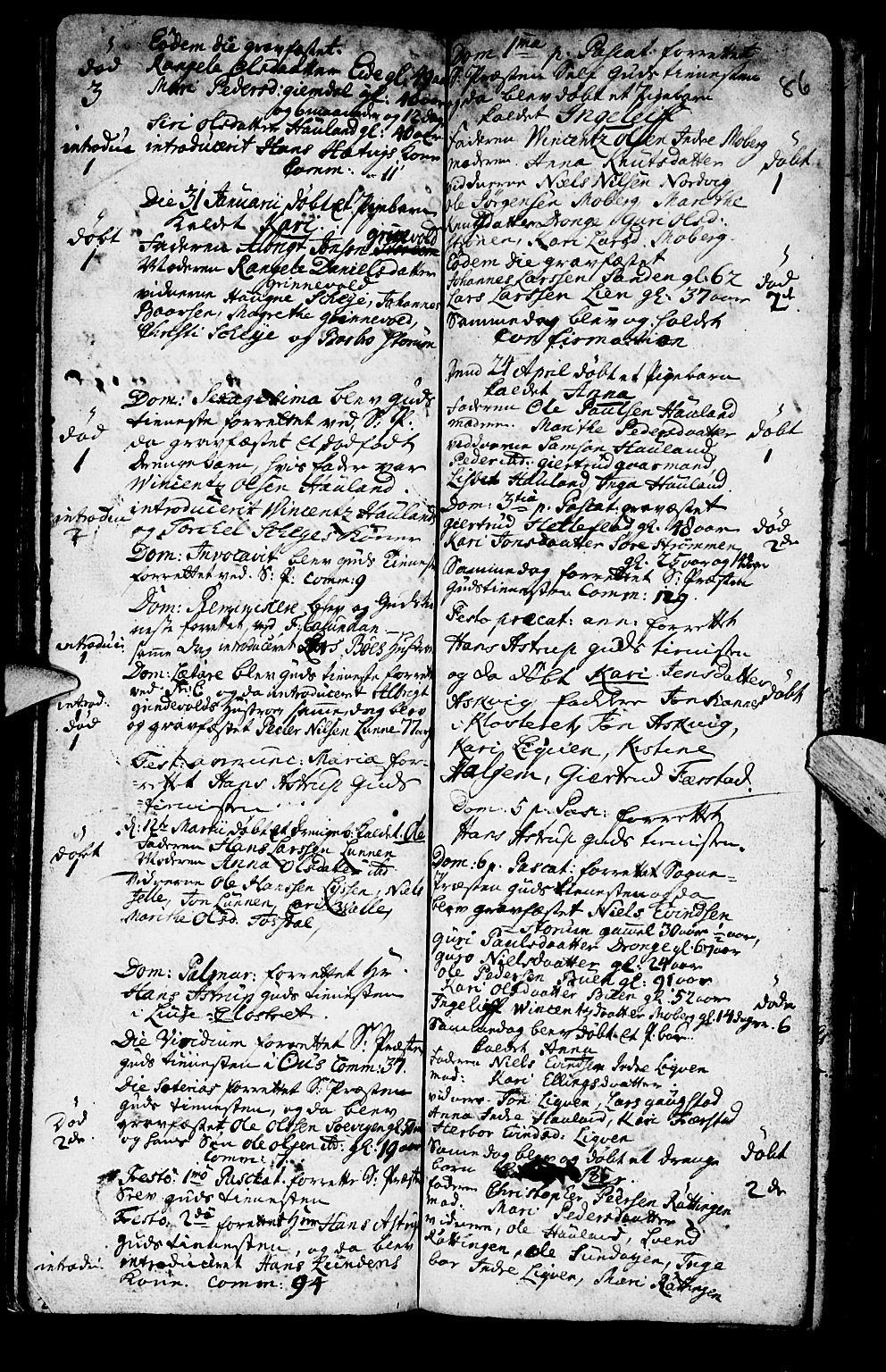 SAB, Os sokneprestembete*, Parish register (official) no. A 2, 1723-1758, p. 86