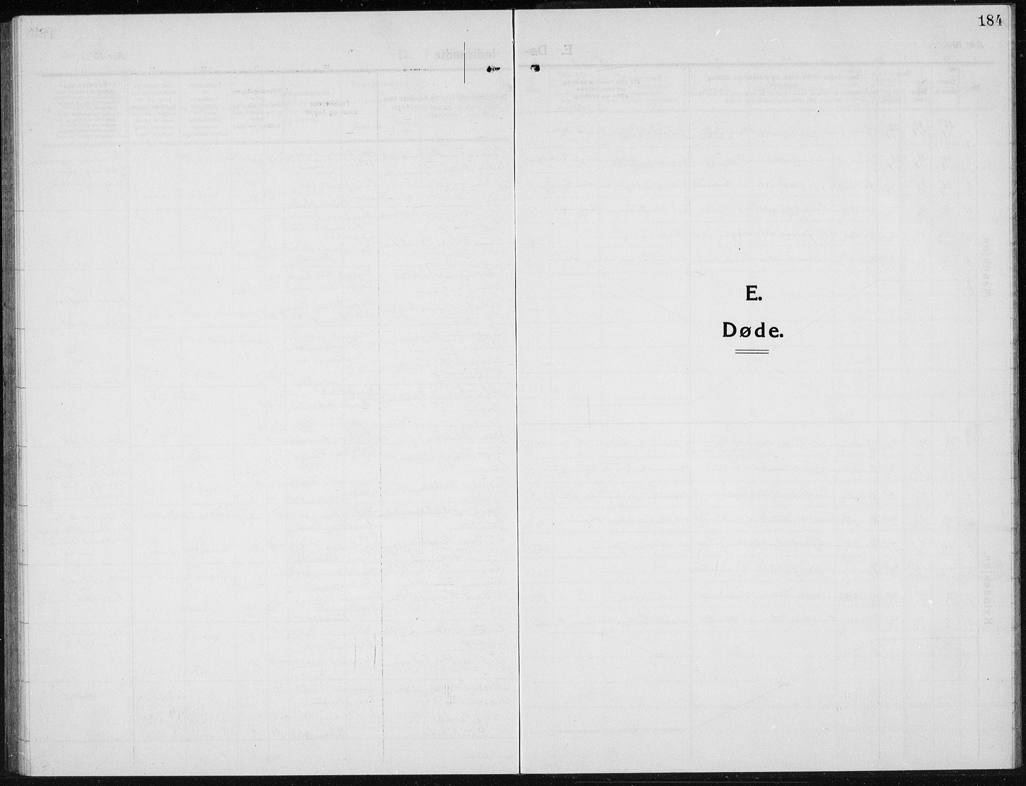 SAH, Brandbu prestekontor, Parish register (copy) no. 1, 1914-1937, p. 184