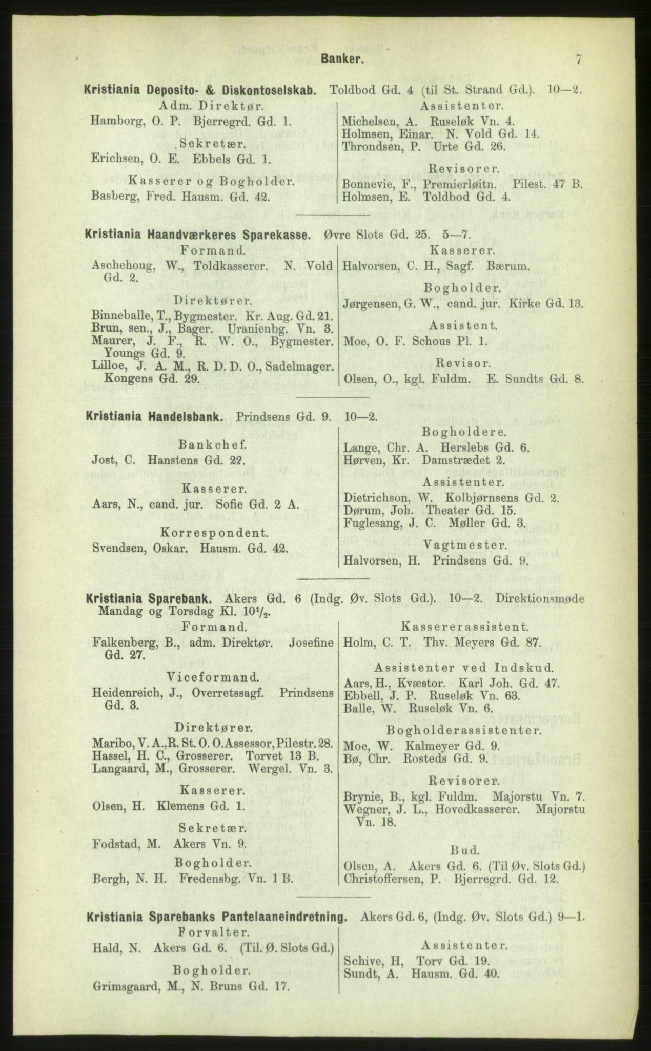 PUBL, Kristiania/Oslo adressebok, 1883, p. 7