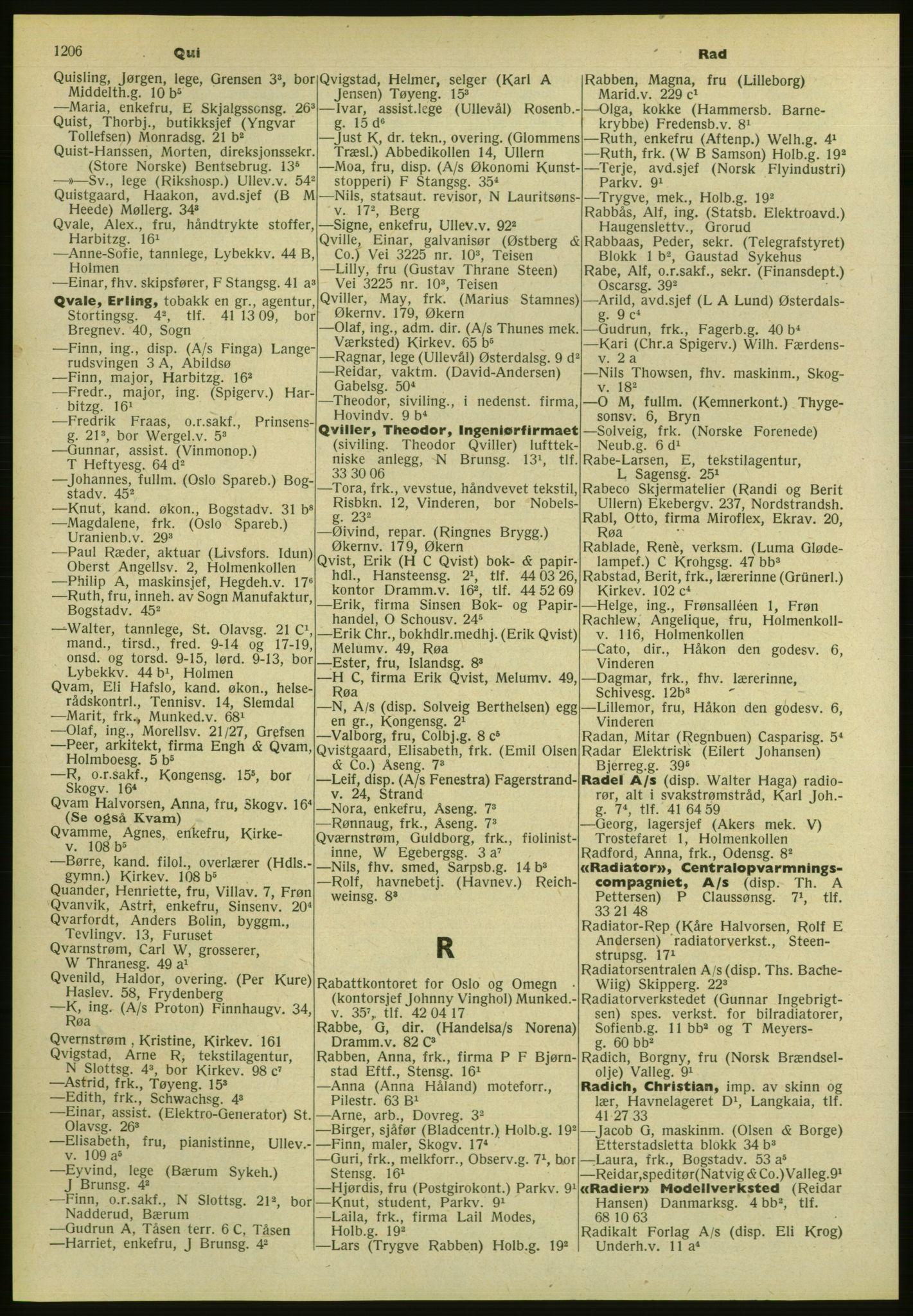 PUBL, Kristiania/Oslo adressebok, 1952, p. 1206