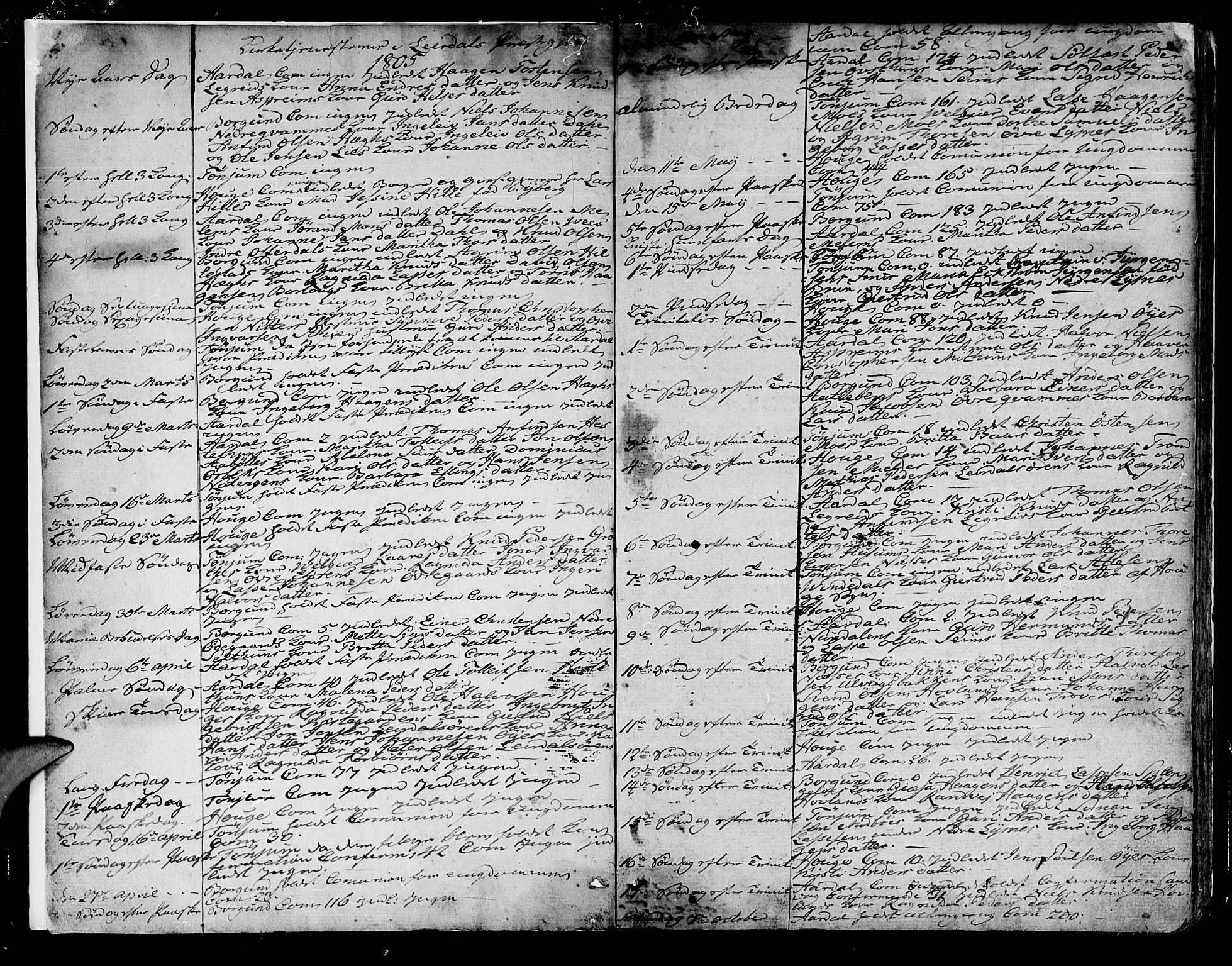 SAB, Lærdal sokneprestembete, Parish register (official) no. A 4, 1805-1821, p. 2-3