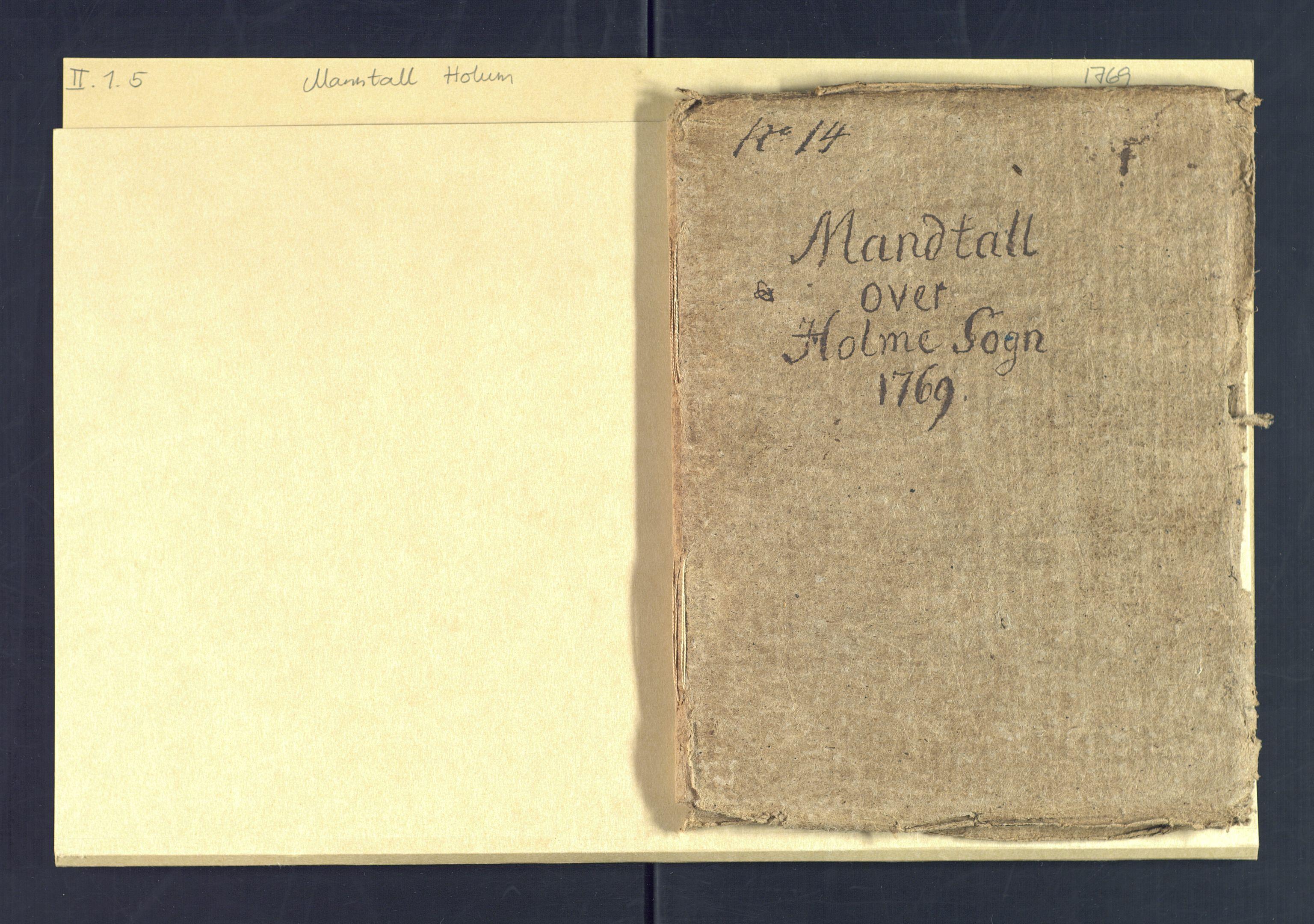 SAK, Holum sokneprestkontor, Andre øvrighetsfunksjoner, no. 5: Census for Holum local parish 1769, 1769-1771, p. 1