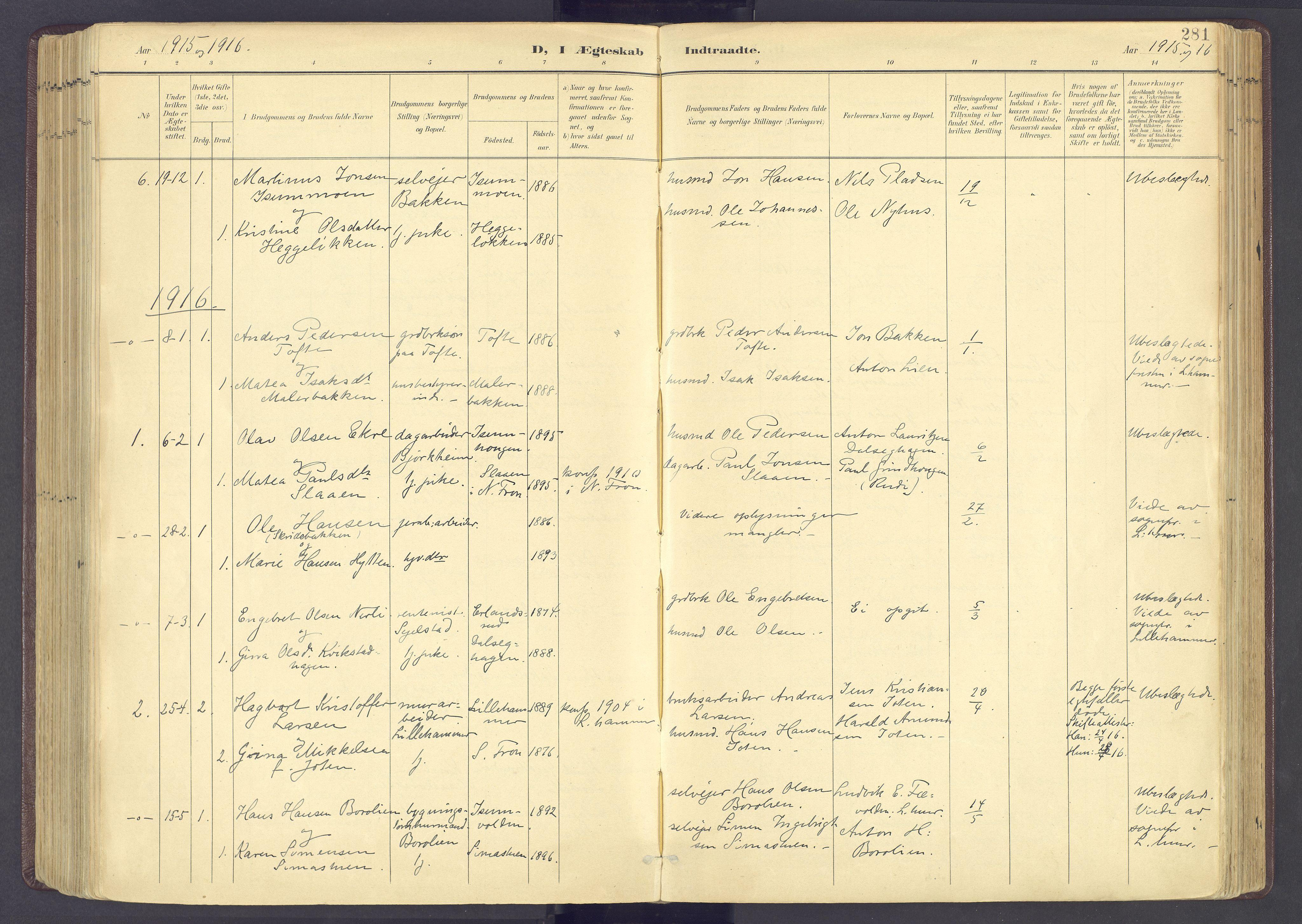 SAH, Sør-Fron prestekontor, H/Ha/Haa/L0004: Parish register (official) no. 4, 1898-1919, p. 281
