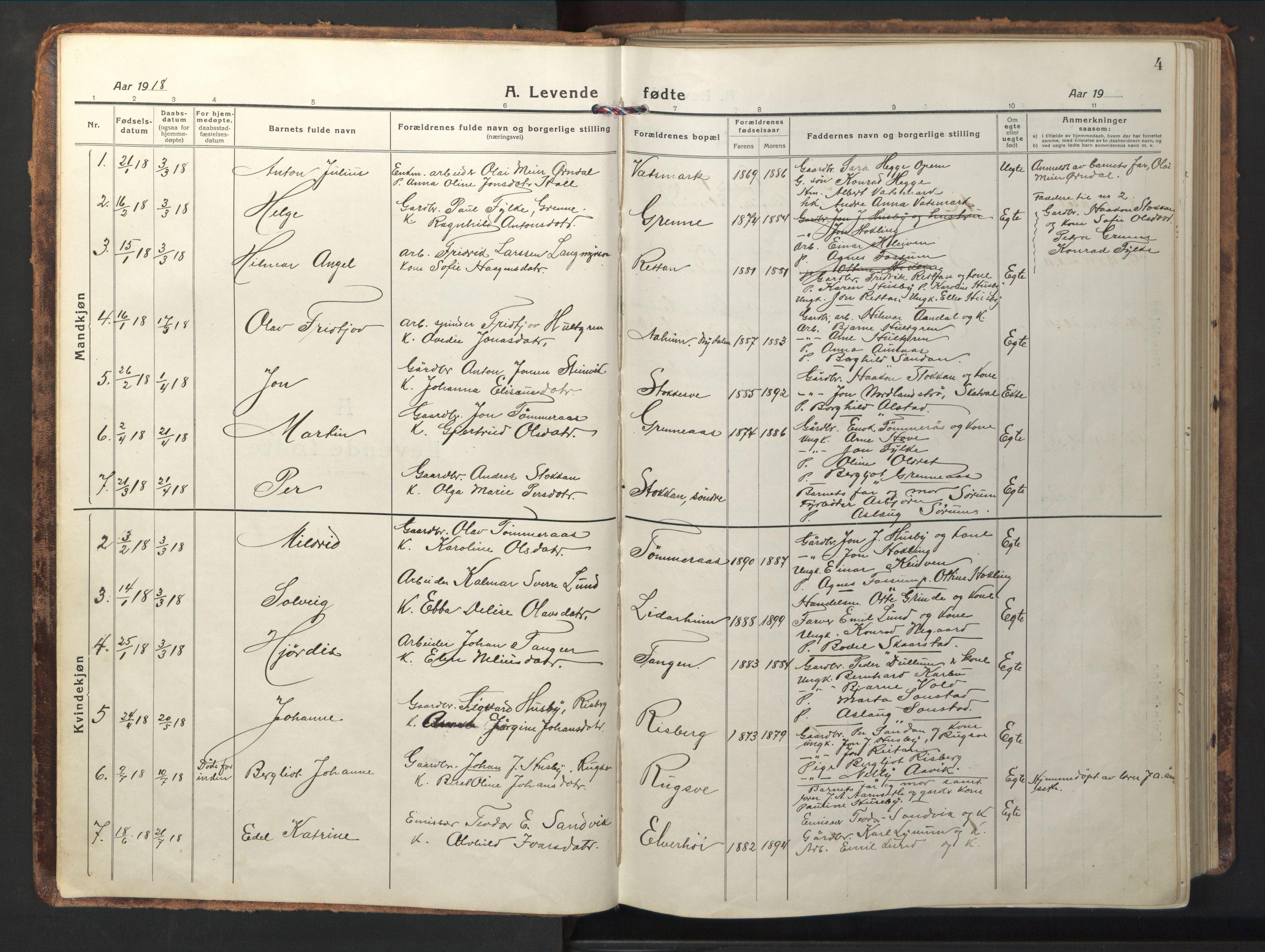 SAT, Ministerialprotokoller, klokkerbøker og fødselsregistre - Nord-Trøndelag, 714/L0136: Parish register (copy) no. 714C05, 1918-1957, p. 4