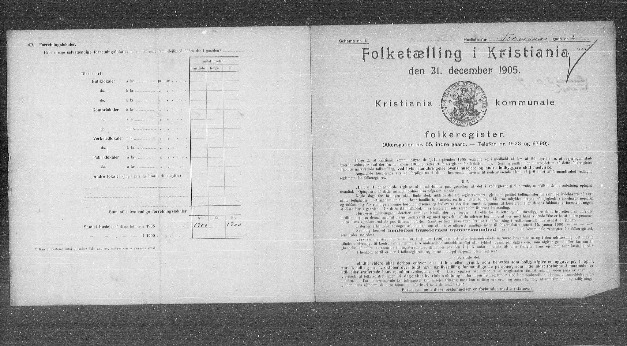 OBA, Municipal Census 1905 for Kristiania, 1905, p. 58327
