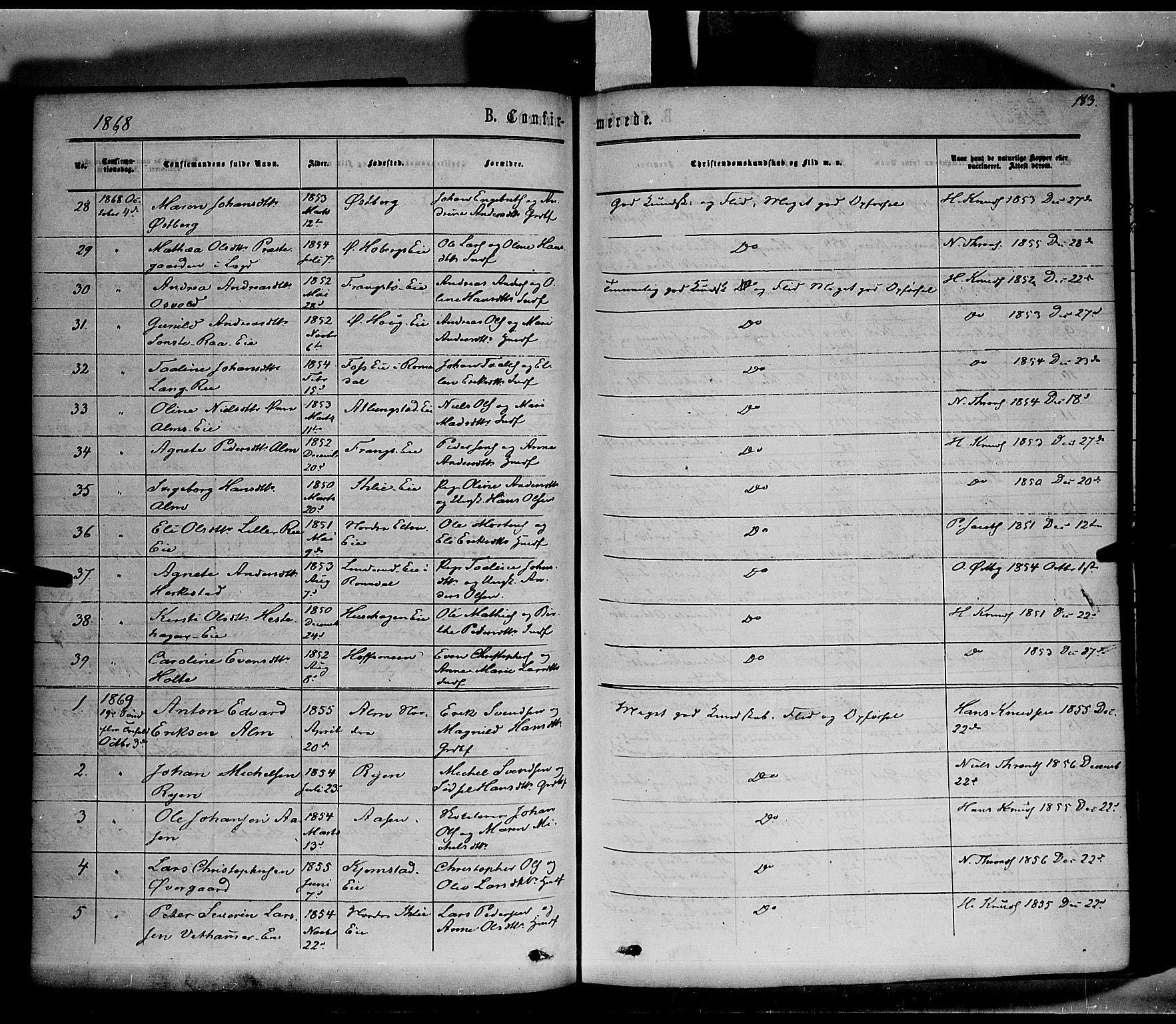 SAH, Stange prestekontor, K/L0013: Parish register (official) no. 13, 1862-1879, p. 183