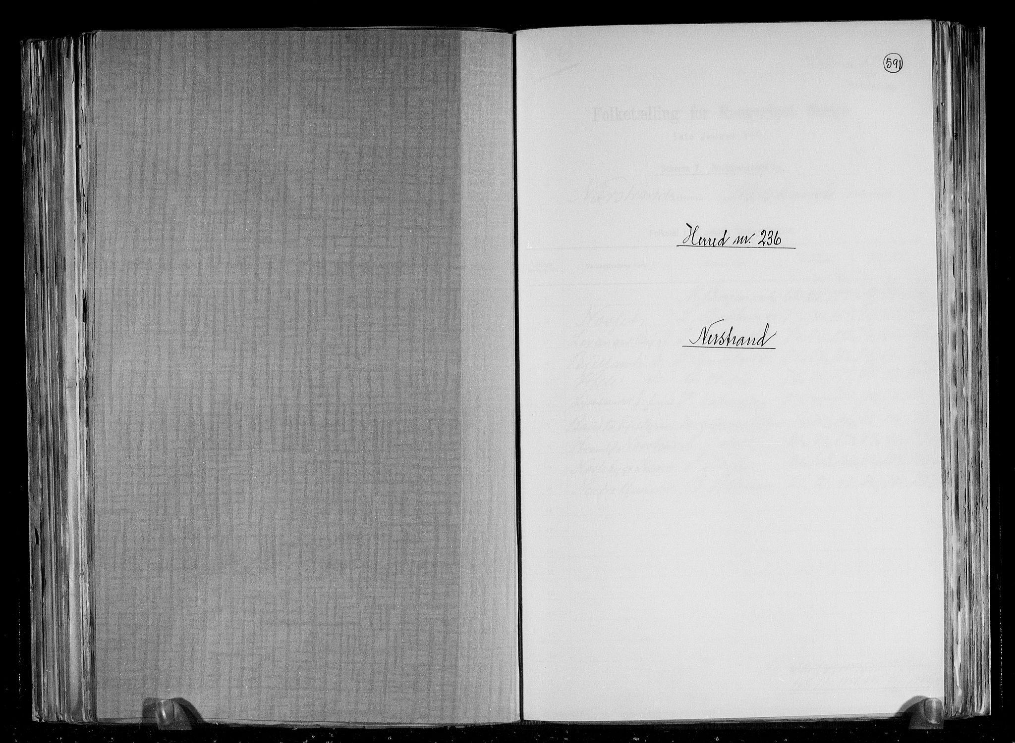 RA, 1891 census for 1139 Nedstrand, 1891, p. 1