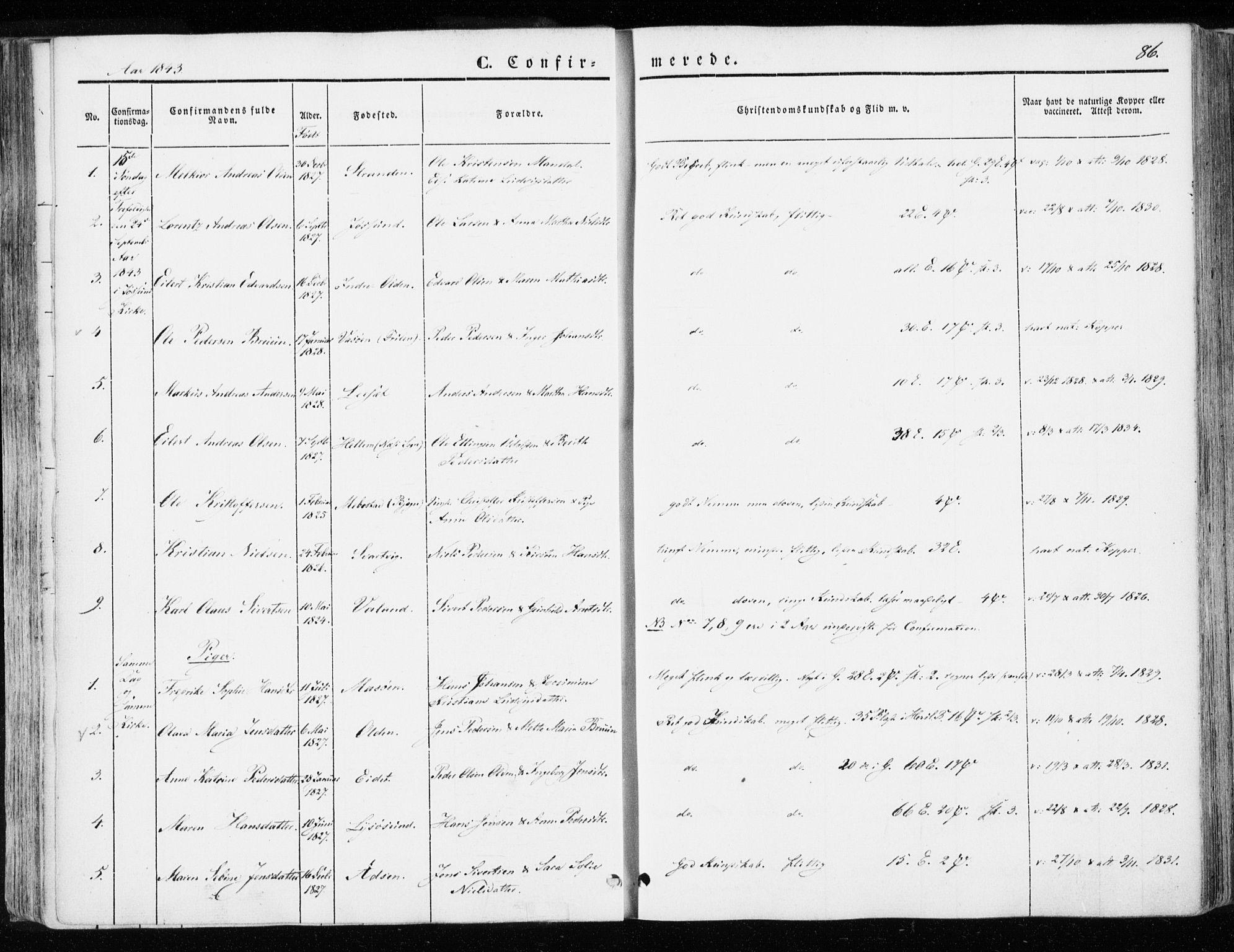SAT, Ministerialprotokoller, klokkerbøker og fødselsregistre - Sør-Trøndelag, 655/L0677: Parish register (official) no. 655A06, 1847-1860, p. 86
