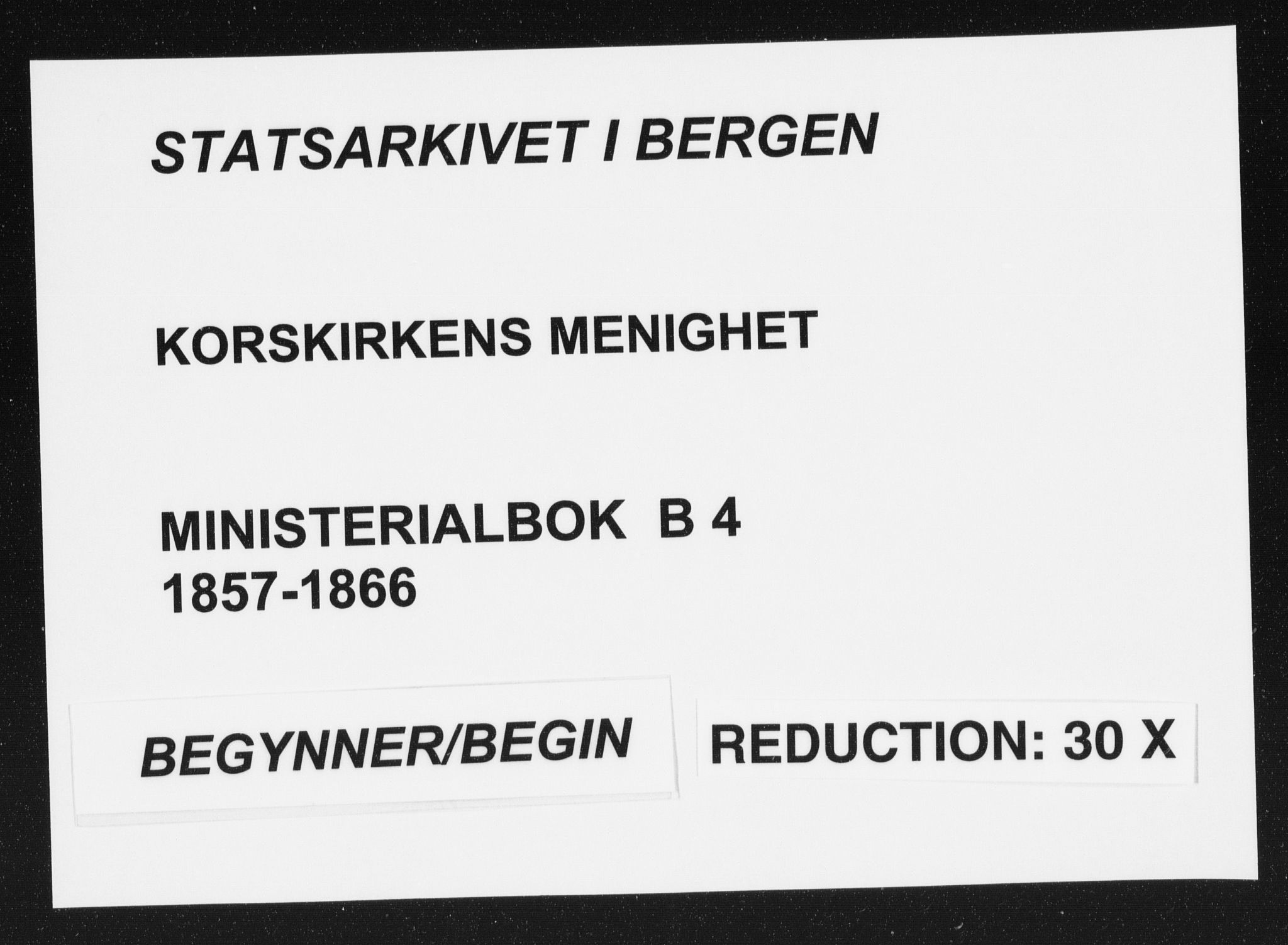 SAB, Korskirken Sokneprestembete, H/Haa/L0018: Parish register (official) no. B 4, 1857-1866