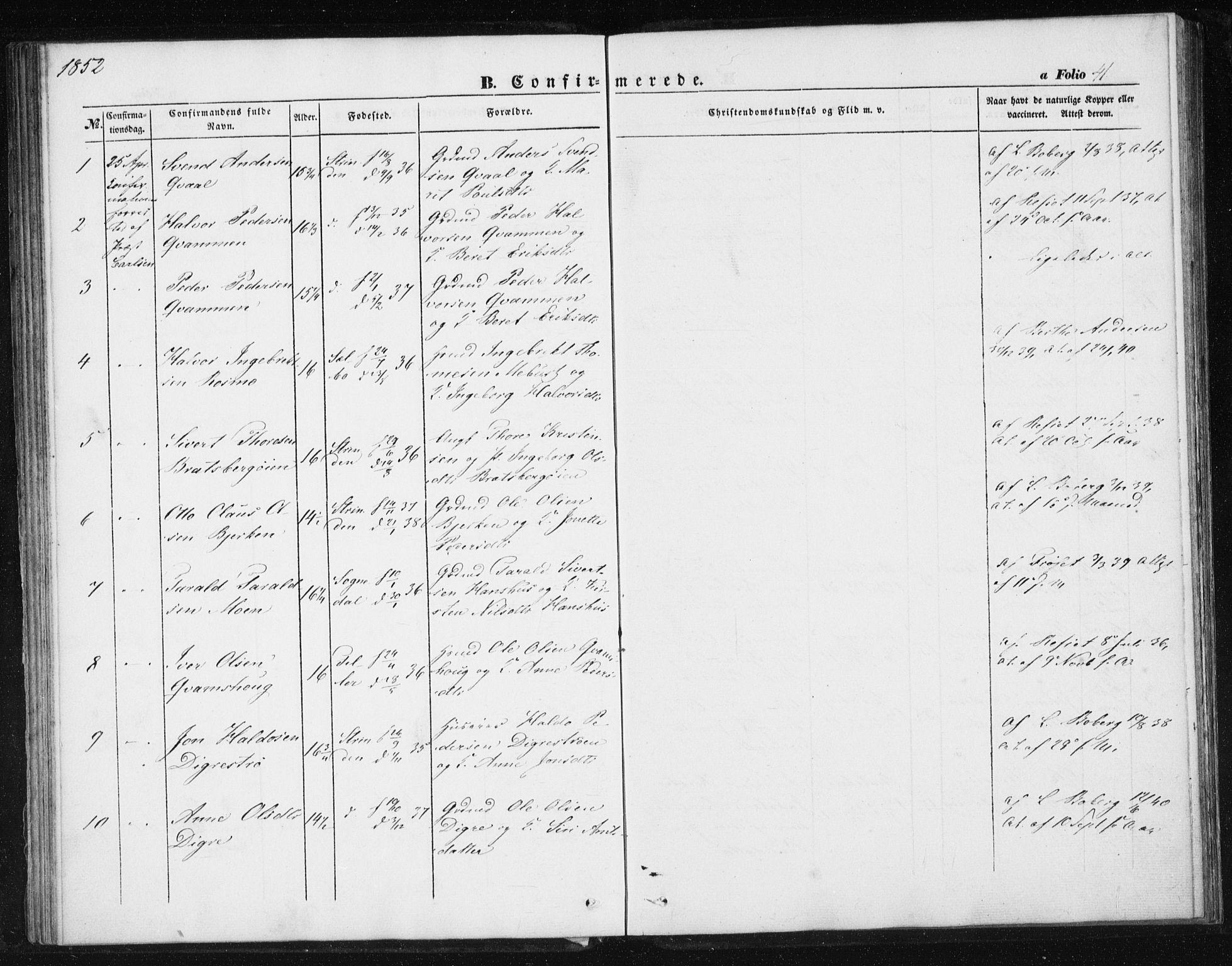 SAT, Ministerialprotokoller, klokkerbøker og fødselsregistre - Sør-Trøndelag, 608/L0332: Parish register (official) no. 608A01, 1848-1861, p. 41