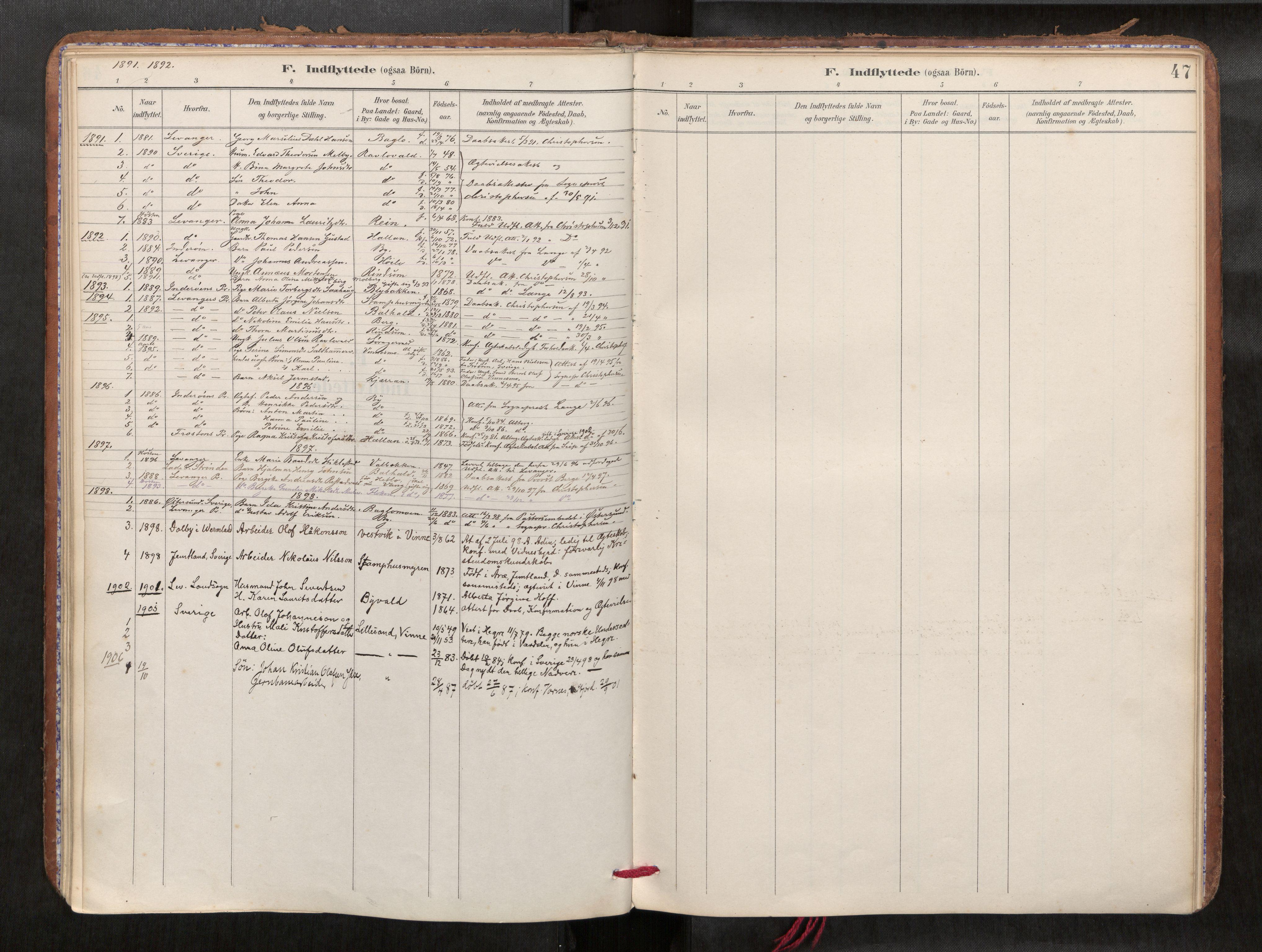 SAT, Verdal sokneprestkontor*, Parish register (official) no. 1, 1891-1907, p. 47