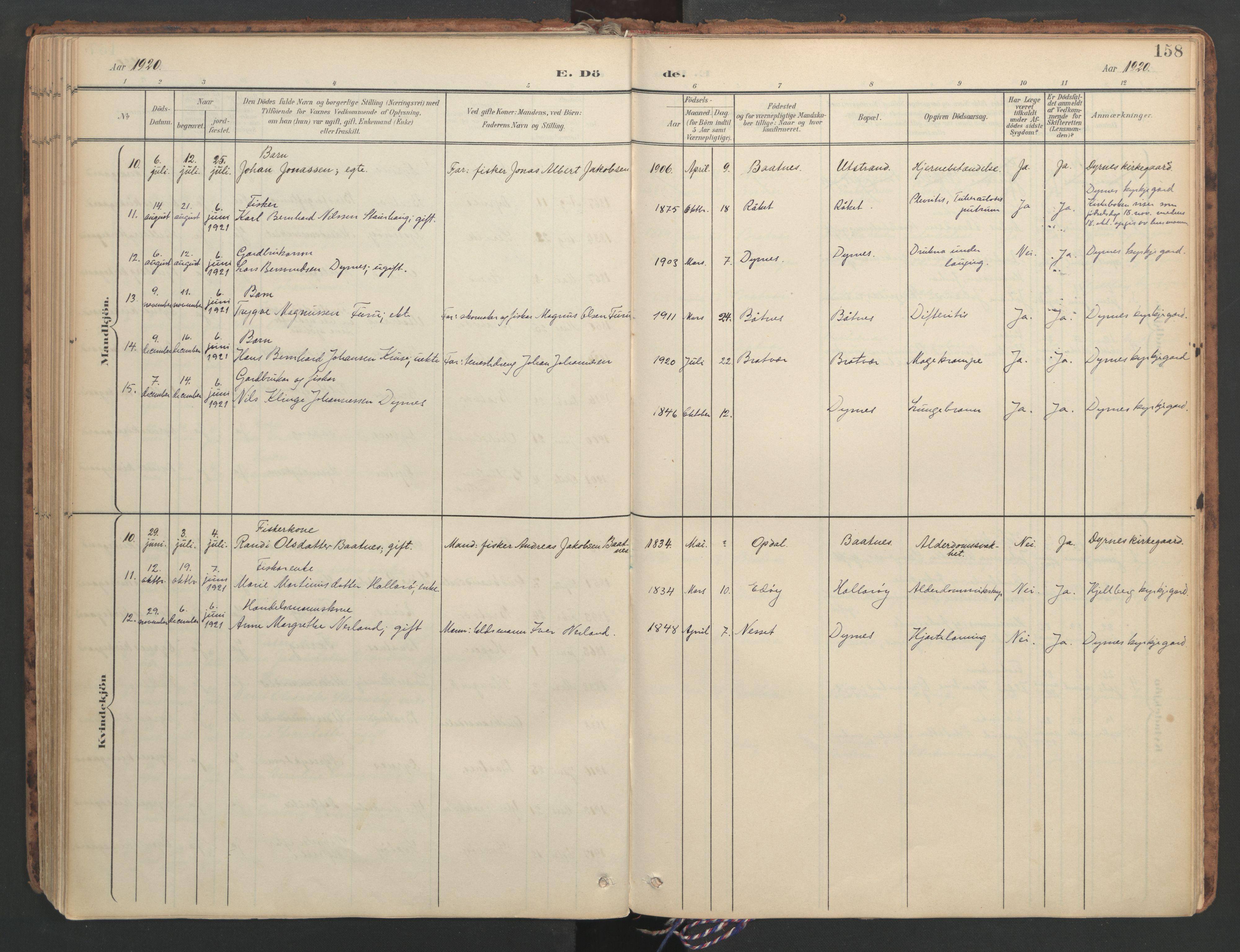 SAT, Ministerialprotokoller, klokkerbøker og fødselsregistre - Møre og Romsdal, 582/L0948: Parish register (official) no. 582A02, 1901-1922, p. 158