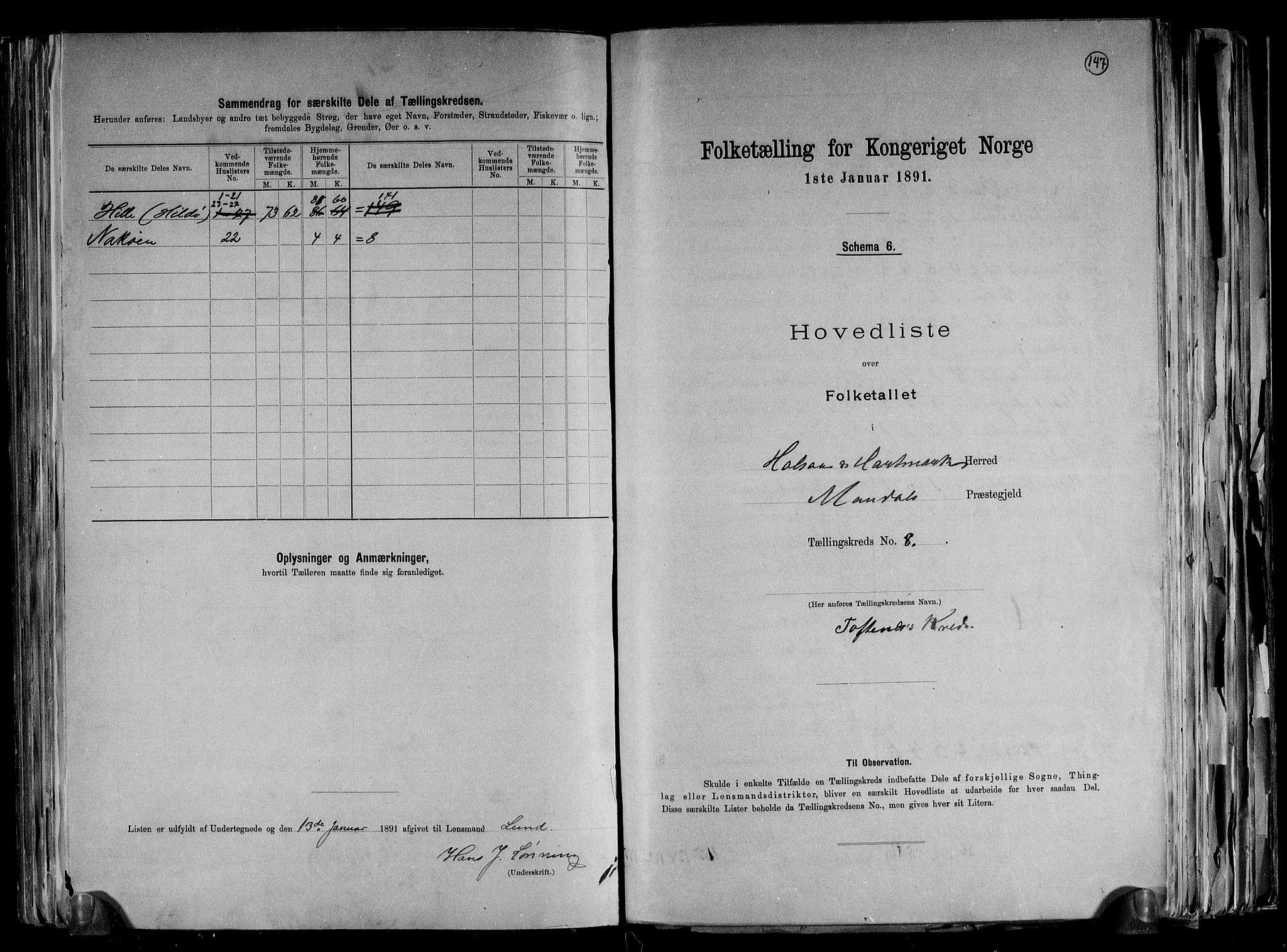 RA, 1891 census for 1019 Halse og Harkmark, 1891, p. 18