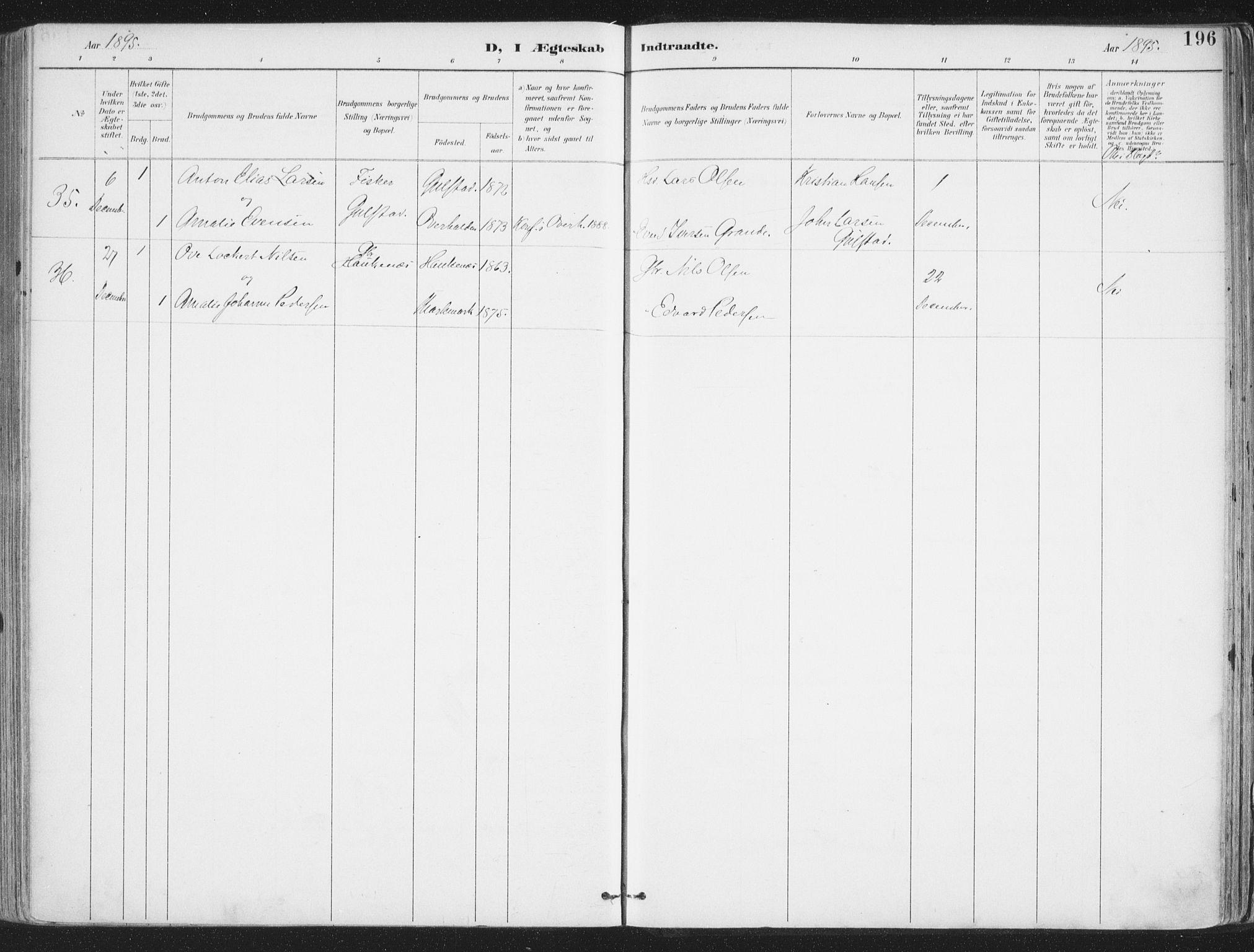 SAT, Ministerialprotokoller, klokkerbøker og fødselsregistre - Nordland, 888/L1246: Parish register (official) no. 888A12, 1891-1903, p. 196