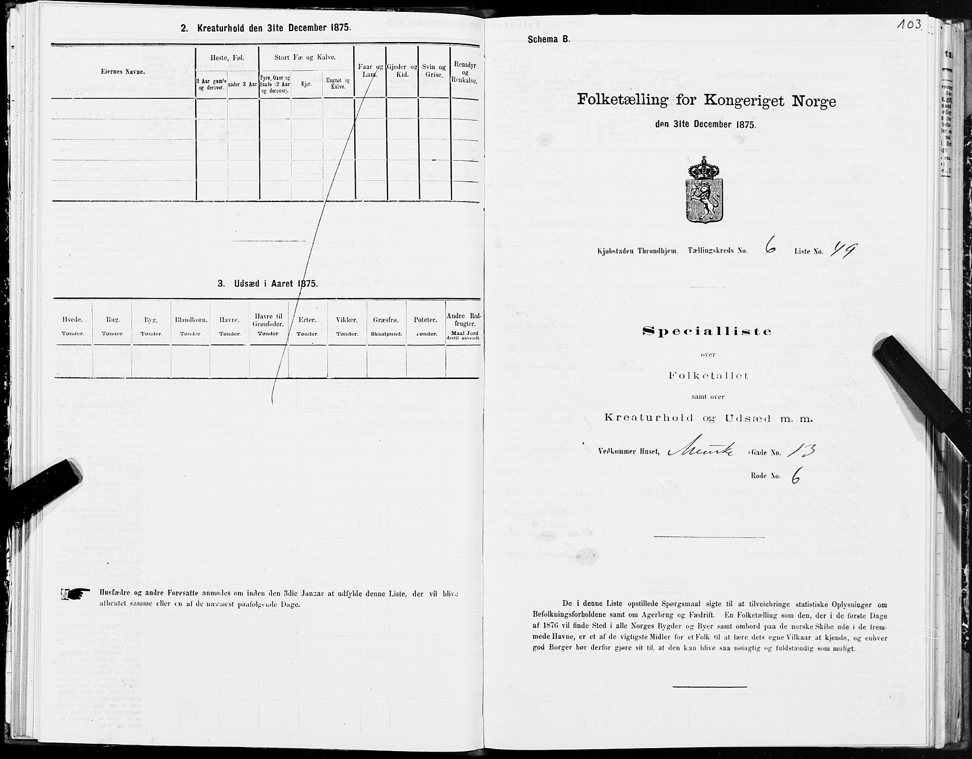 SAT, 1875 census for 1601 Trondheim, 1875, p. 4103