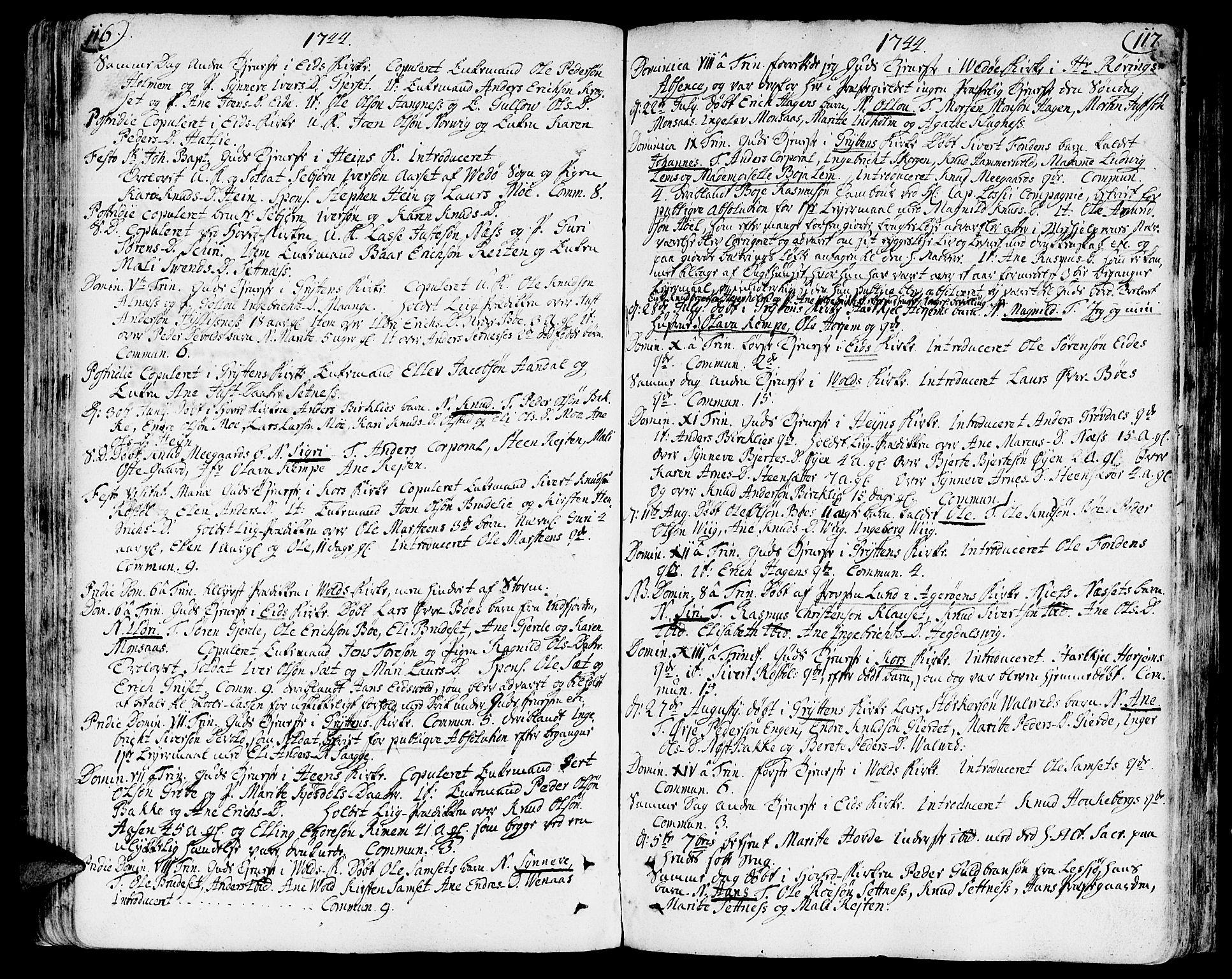 SAT, Ministerialprotokoller, klokkerbøker og fødselsregistre - Møre og Romsdal, 544/L0568: Parish register (official) no. 544A01, 1725-1763, p. 116-117