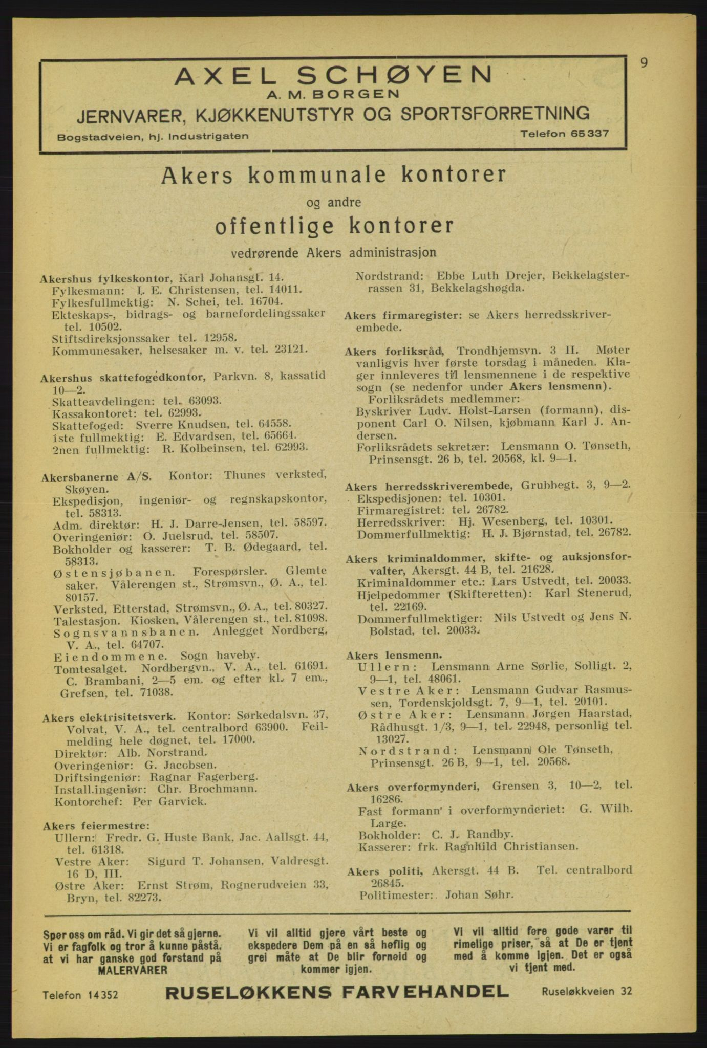 RA, Aker adressebok/adressekalender (publikasjon)*, 1934-1935, p. 9