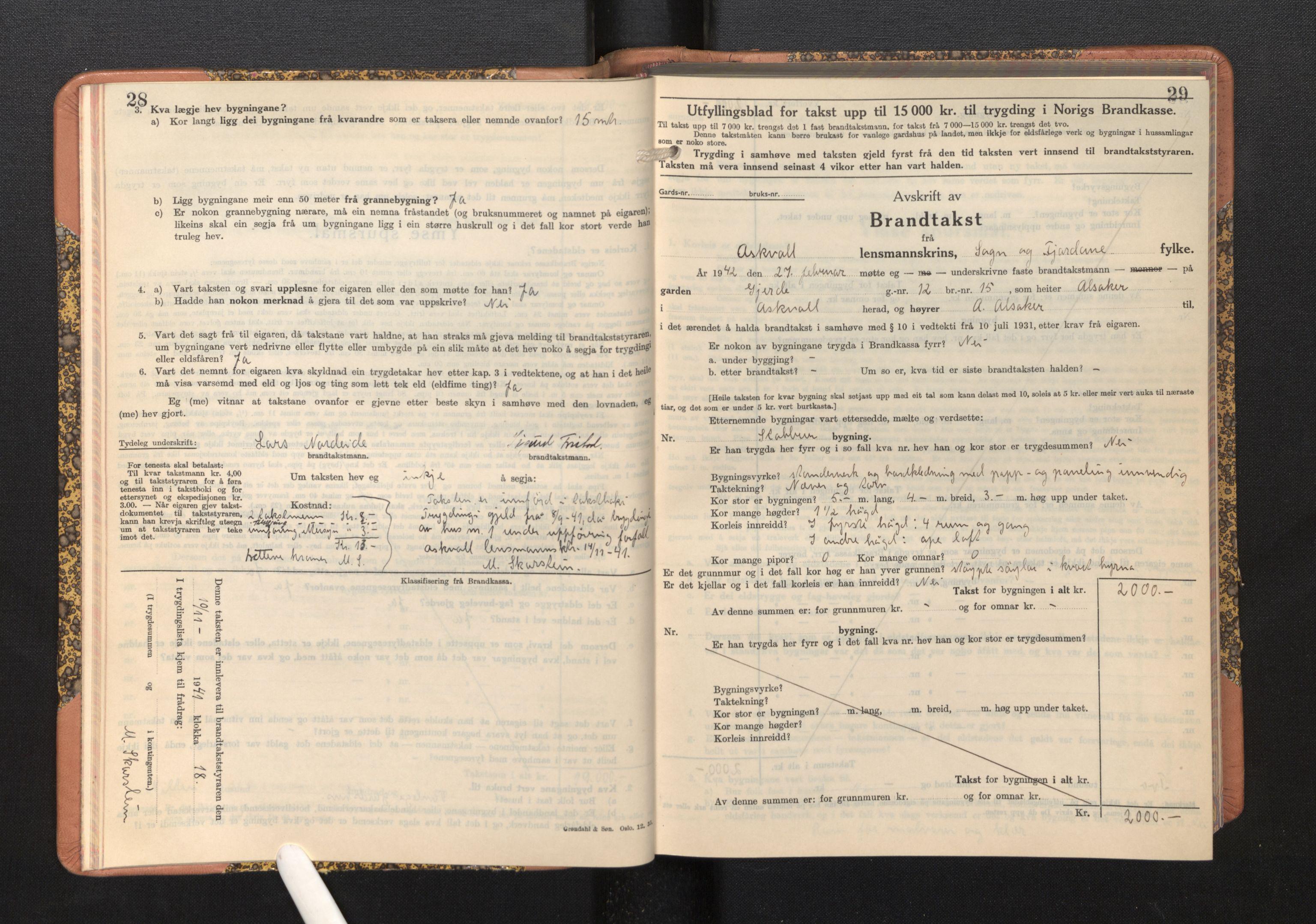 SAB, Lensmannen i Askvoll, 0012/L0005: Branntakstprotokoll, skjematakst, 1940-1949, p. 28-29