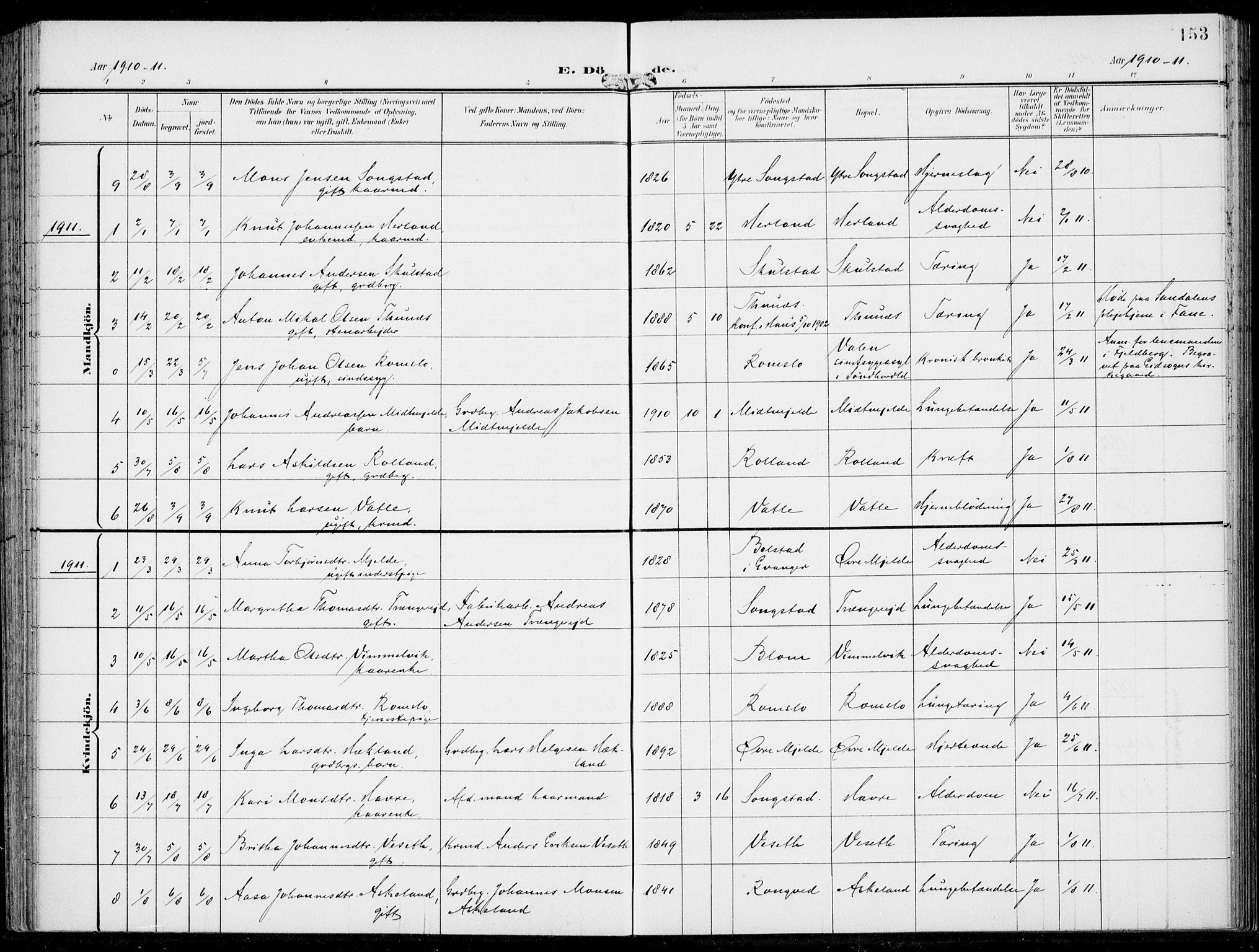 SAB, Haus Sokneprestembete, H/Haa: Parish register (official) no. B  2, 1899-1912, p. 153