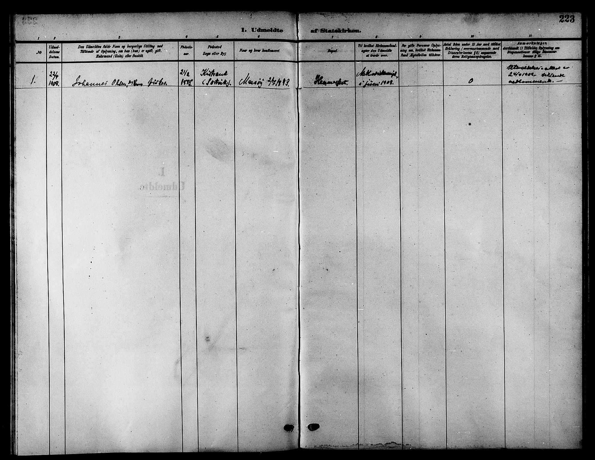 SATØ, Kistrand/Porsanger sokneprestembete, H/Hb/L0006.klokk: Parish register (copy) no. 6, 1905-1917, p. 223