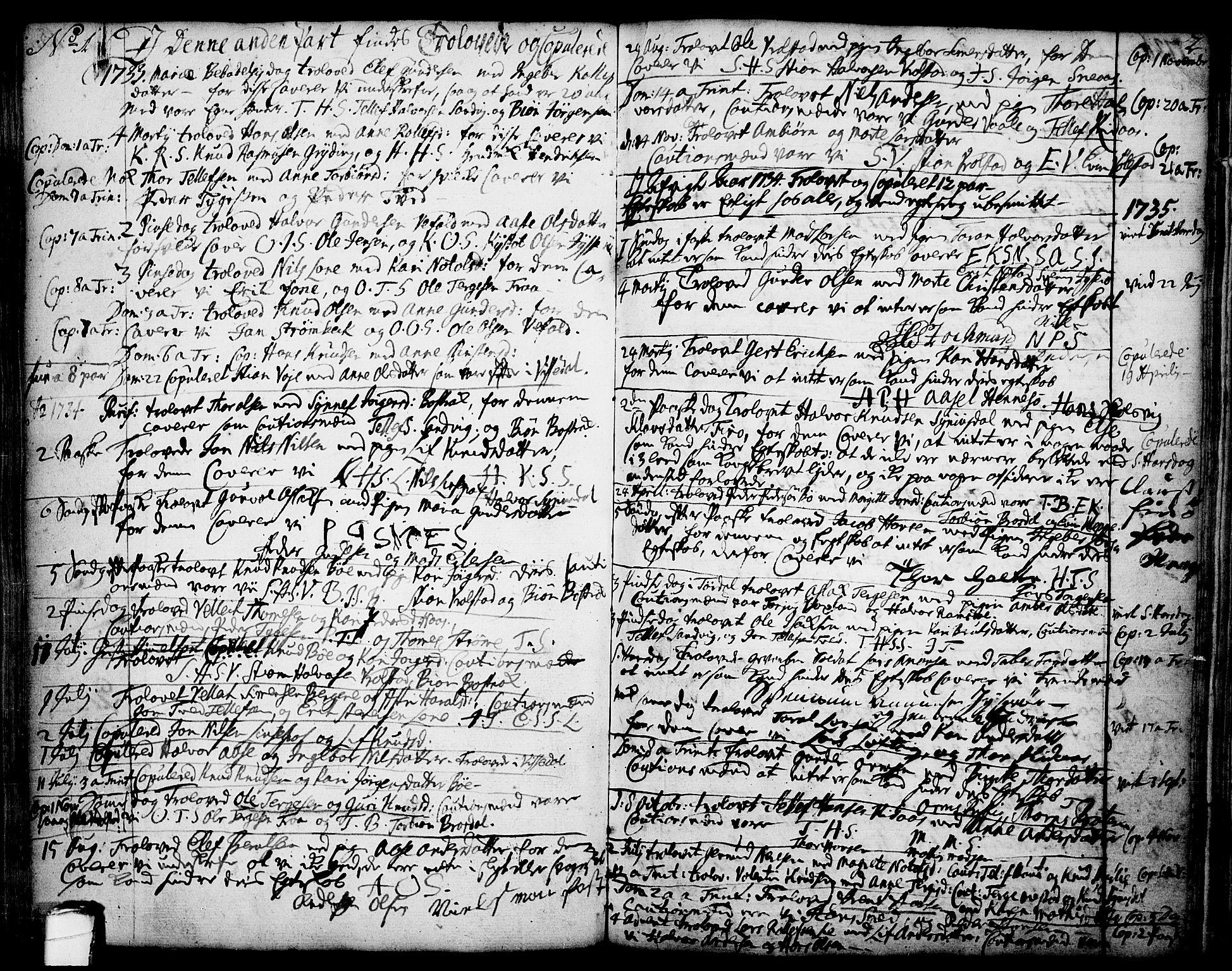 SAKO, Drangedal kirkebøker, F/Fa/L0002: Parish register (official) no. 2, 1733-1753, p. 1-2