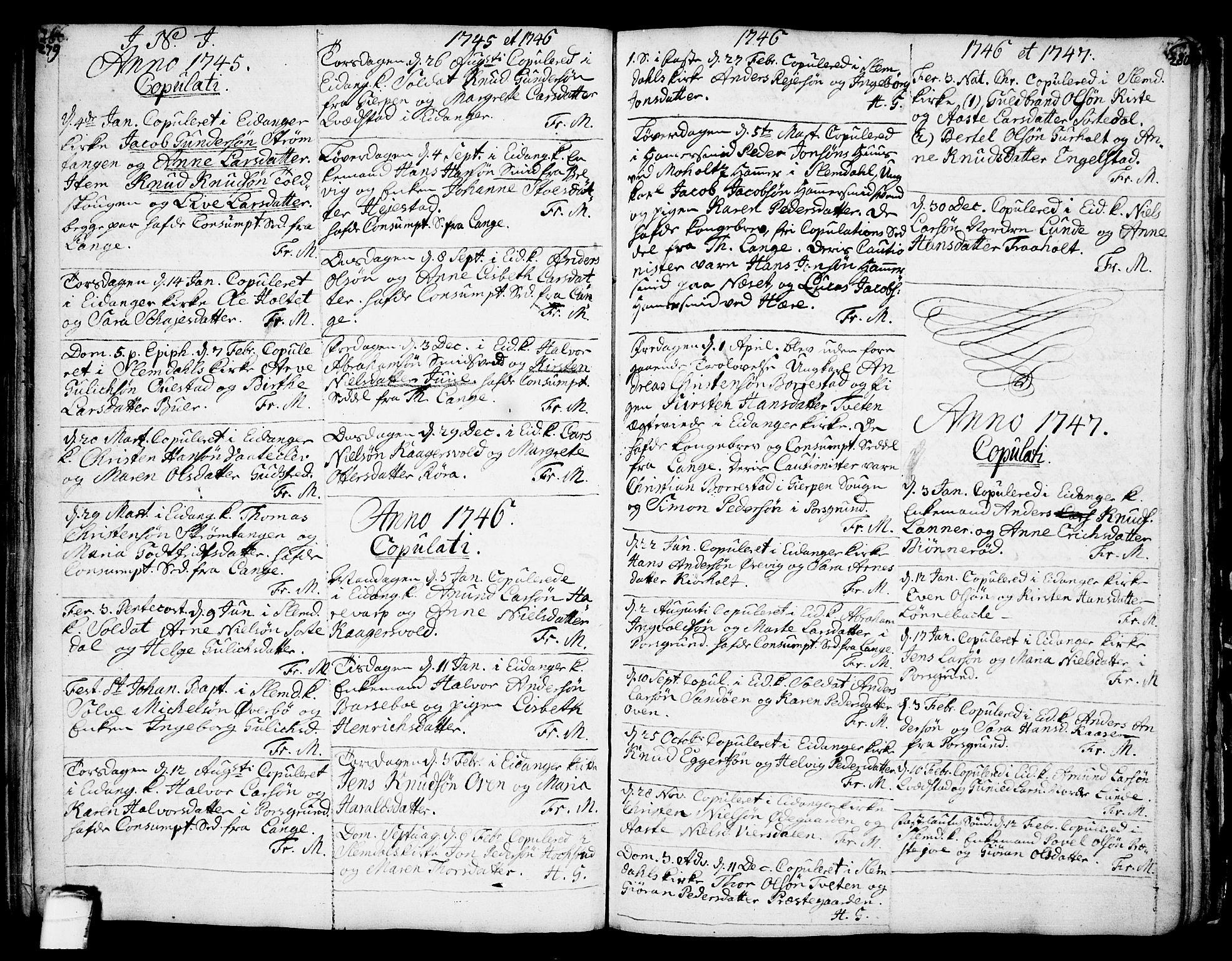 SAKO, Eidanger kirkebøker, F/Fa/L0004: Parish register (official) no. 4, 1733-1759, p. 279-280
