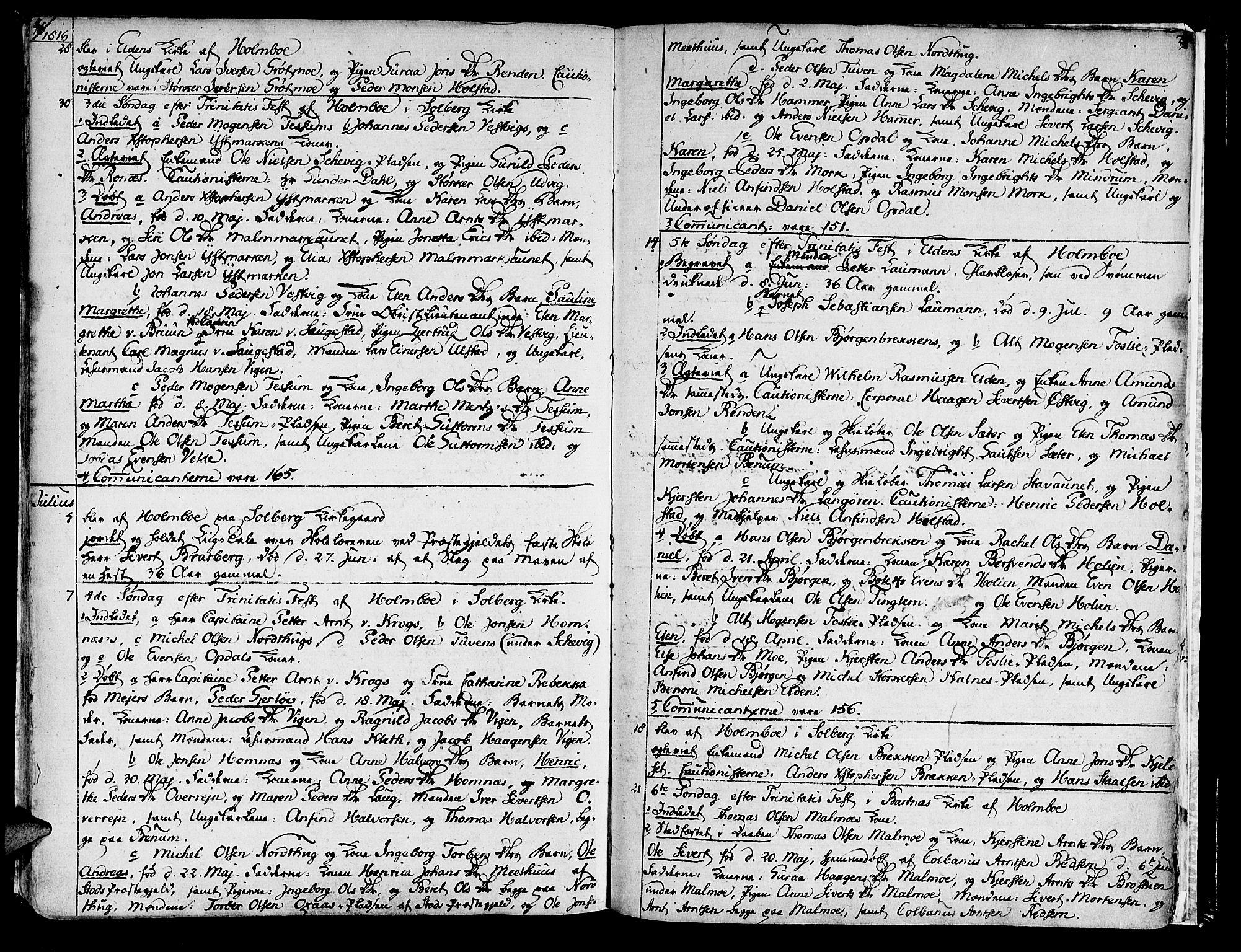 SAT, Ministerialprotokoller, klokkerbøker og fødselsregistre - Nord-Trøndelag, 741/L0386: Parish register (official) no. 741A02, 1804-1816, p. 76-77