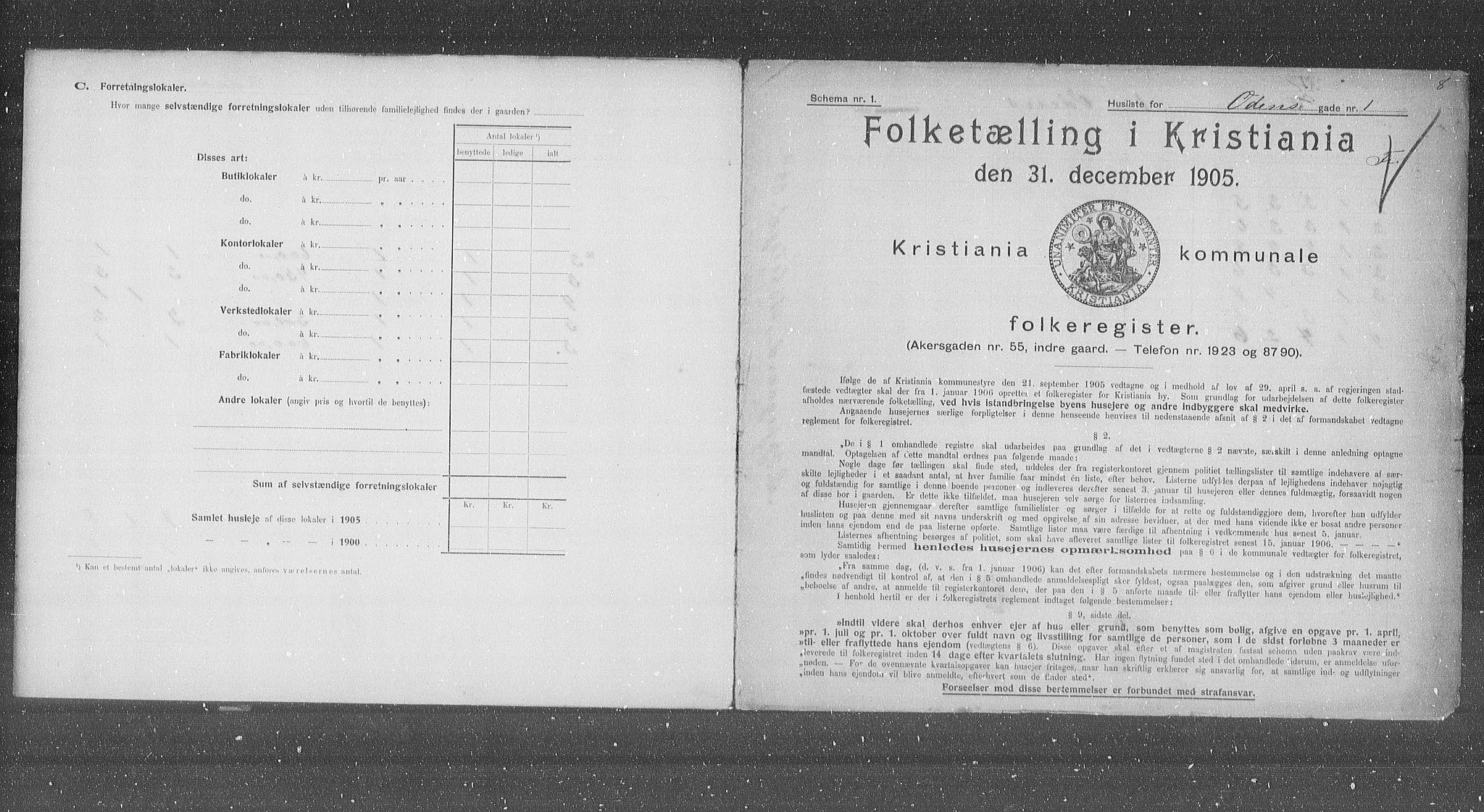 OBA, Municipal Census 1905 for Kristiania, 1905, p. 39245