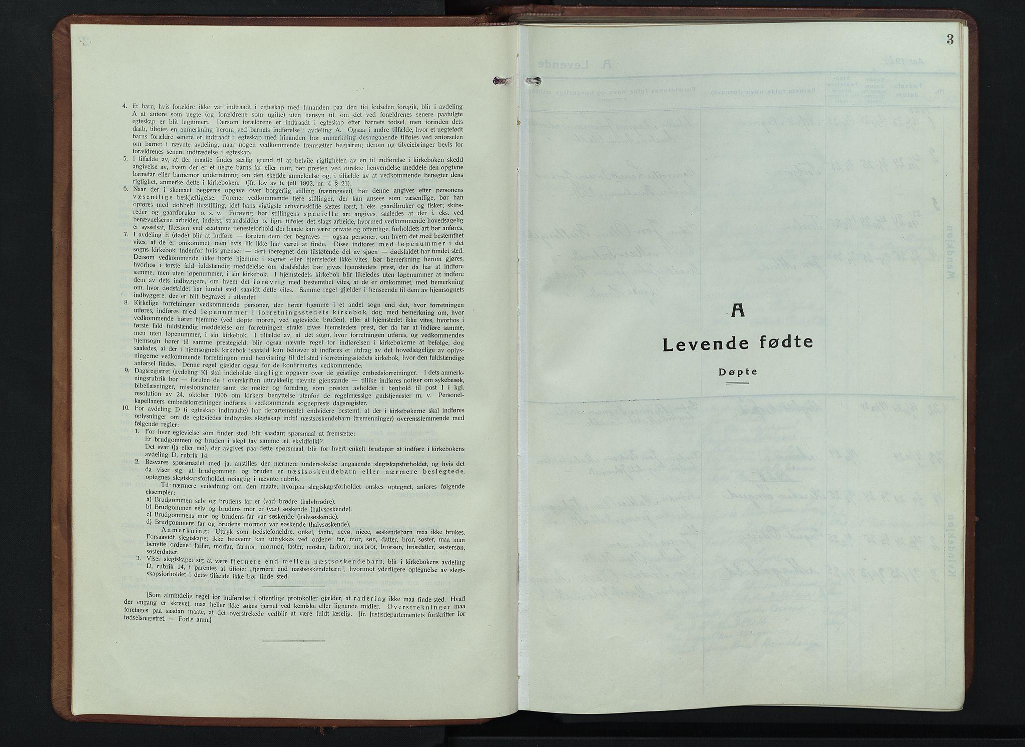 SAH, Lesja prestekontor, Parish register (copy) no. 9, 1924-1947, p. 3