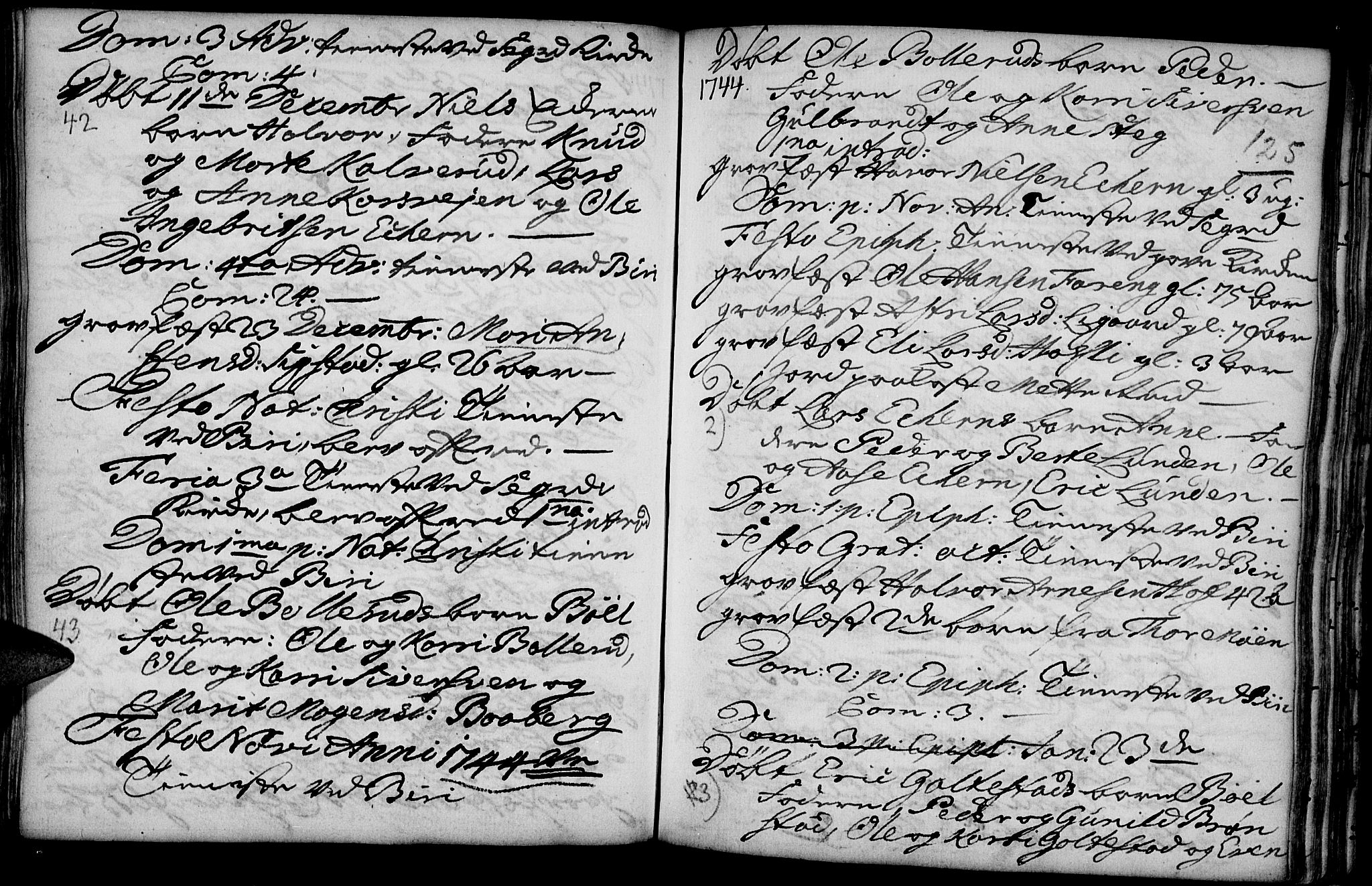 SAH, Biri prestekontor, Parish register (official) no. 1, 1730-1754, p. 125