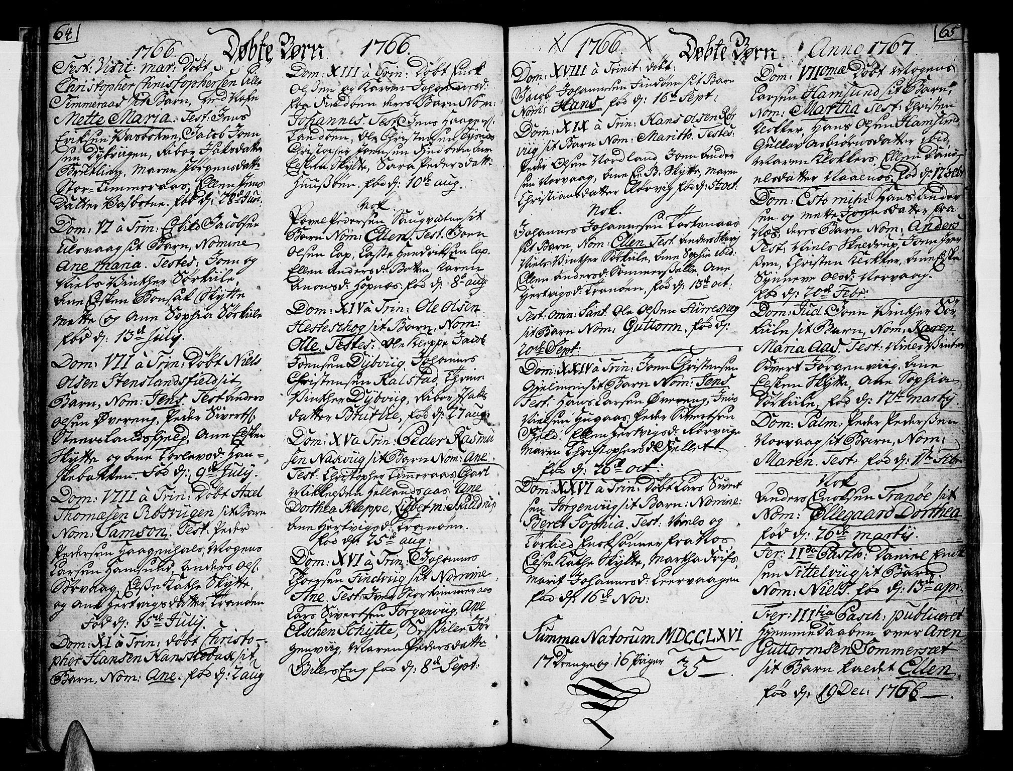 SAT, Ministerialprotokoller, klokkerbøker og fødselsregistre - Nordland, 859/L0841: Parish register (official) no. 859A01, 1766-1821, p. 64-65